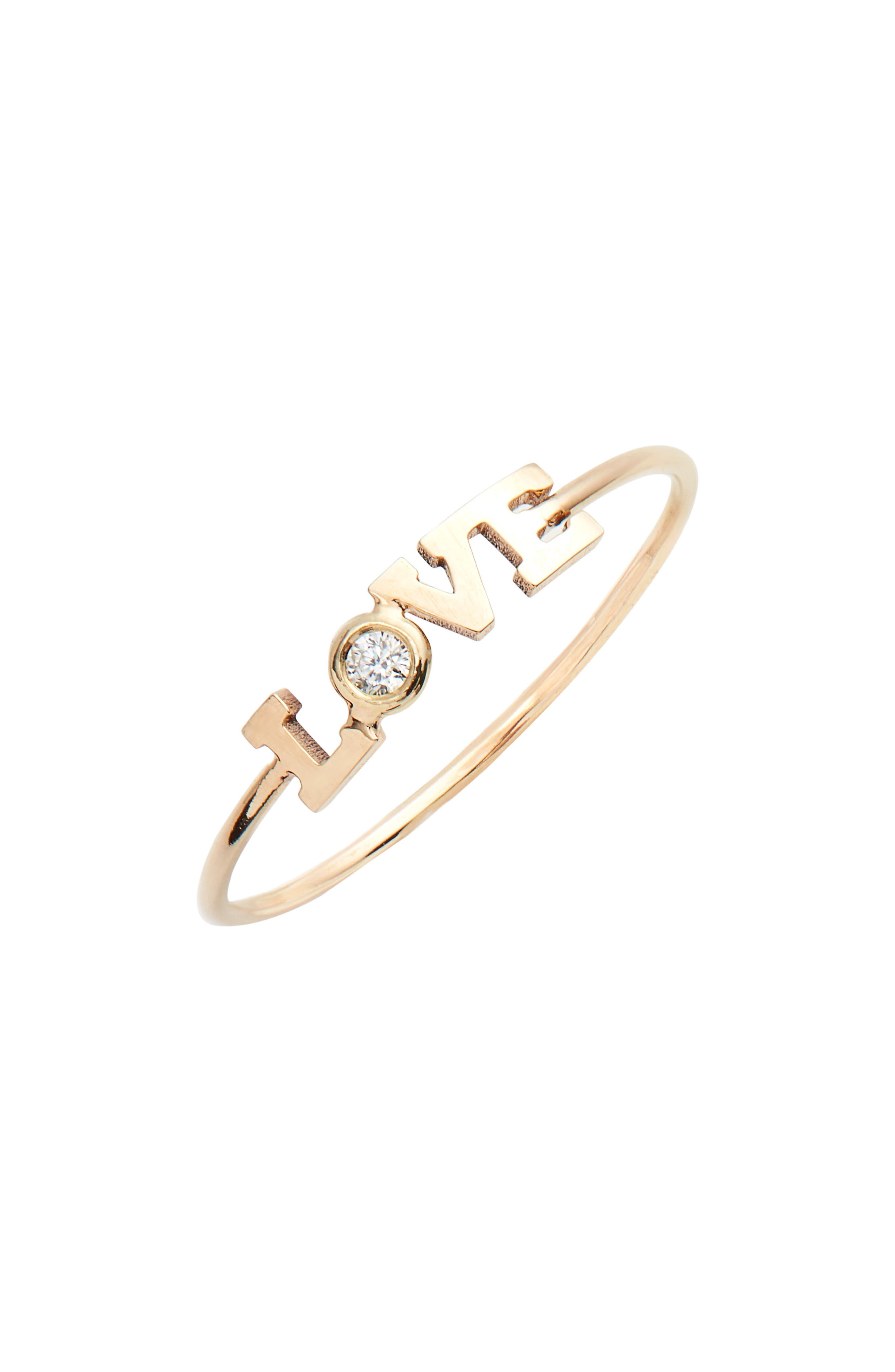 Zoe Chicco Itty Bitty Diamond Love Stacking Ring,                             Main thumbnail 1, color,                             Yellow Gold