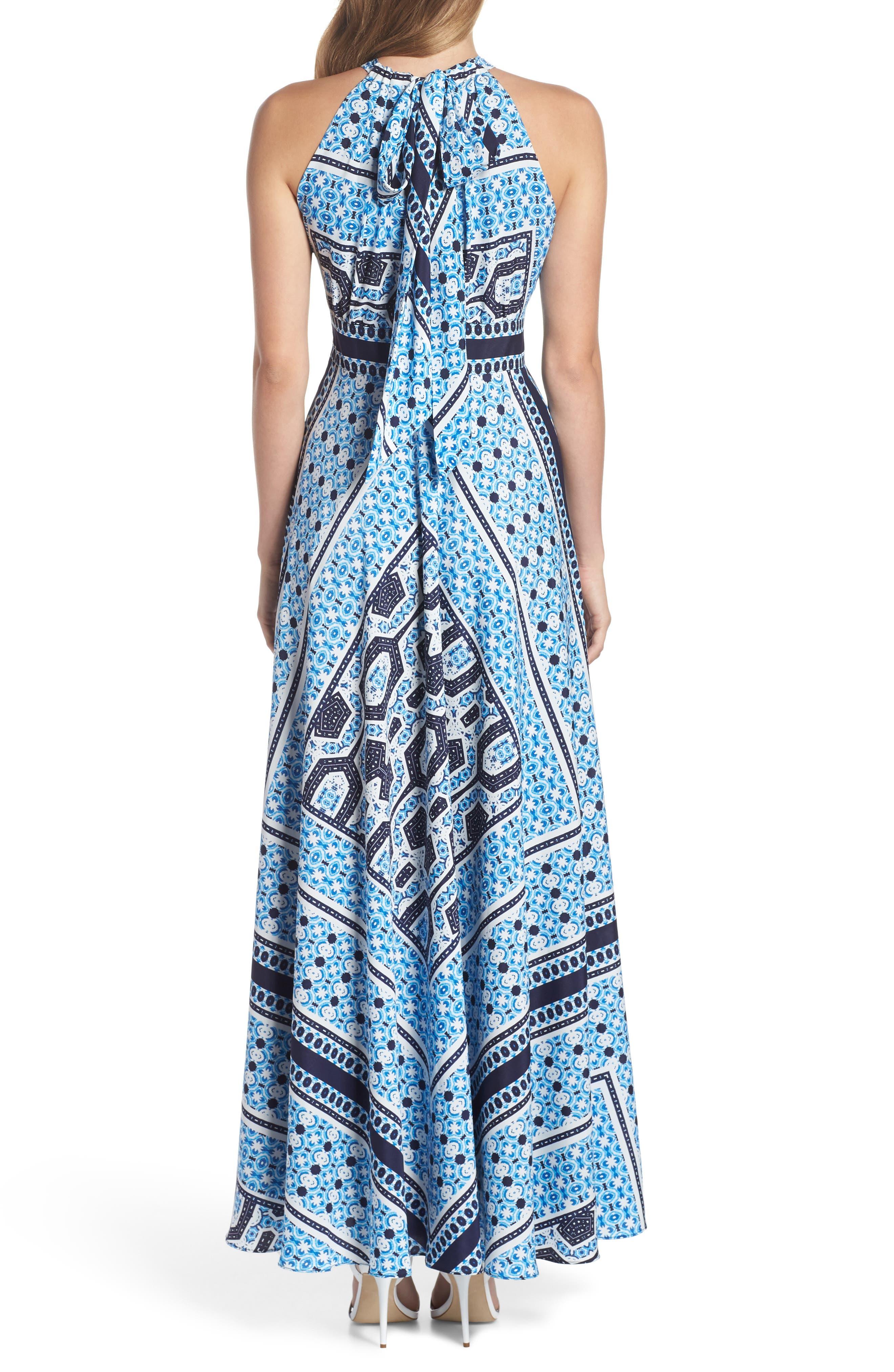 Scarf Print Halter Neck Maxi Dress,                             Alternate thumbnail 2, color,                             Blue