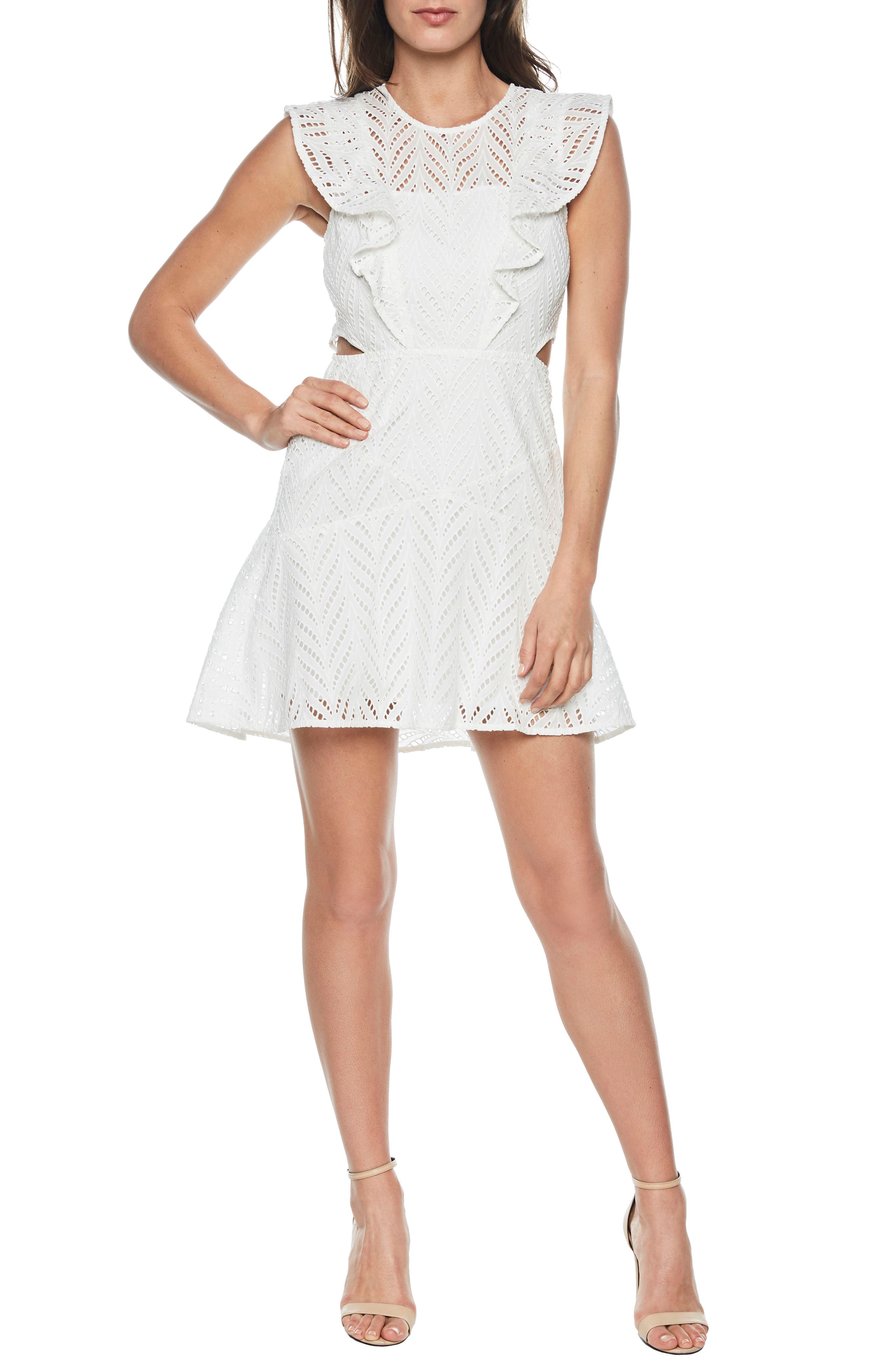 Kira Crochet Ruffle Dress,                             Main thumbnail 1, color,                             Ivory