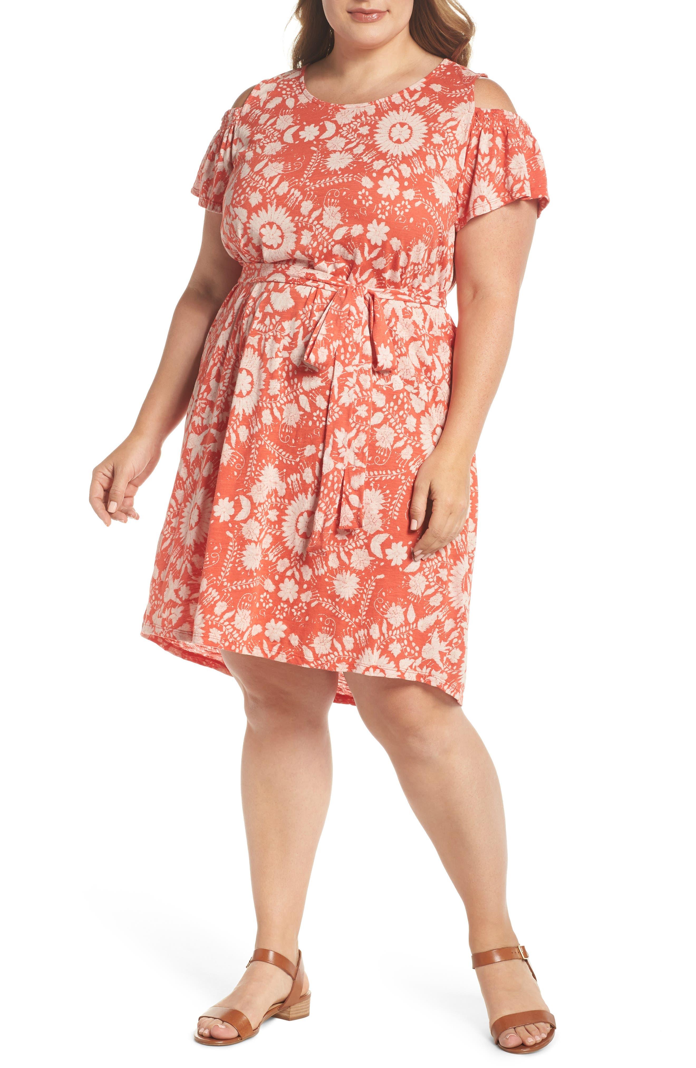 Cold Shoulder Print Belted Dress,                         Main,                         color, Rust Multi