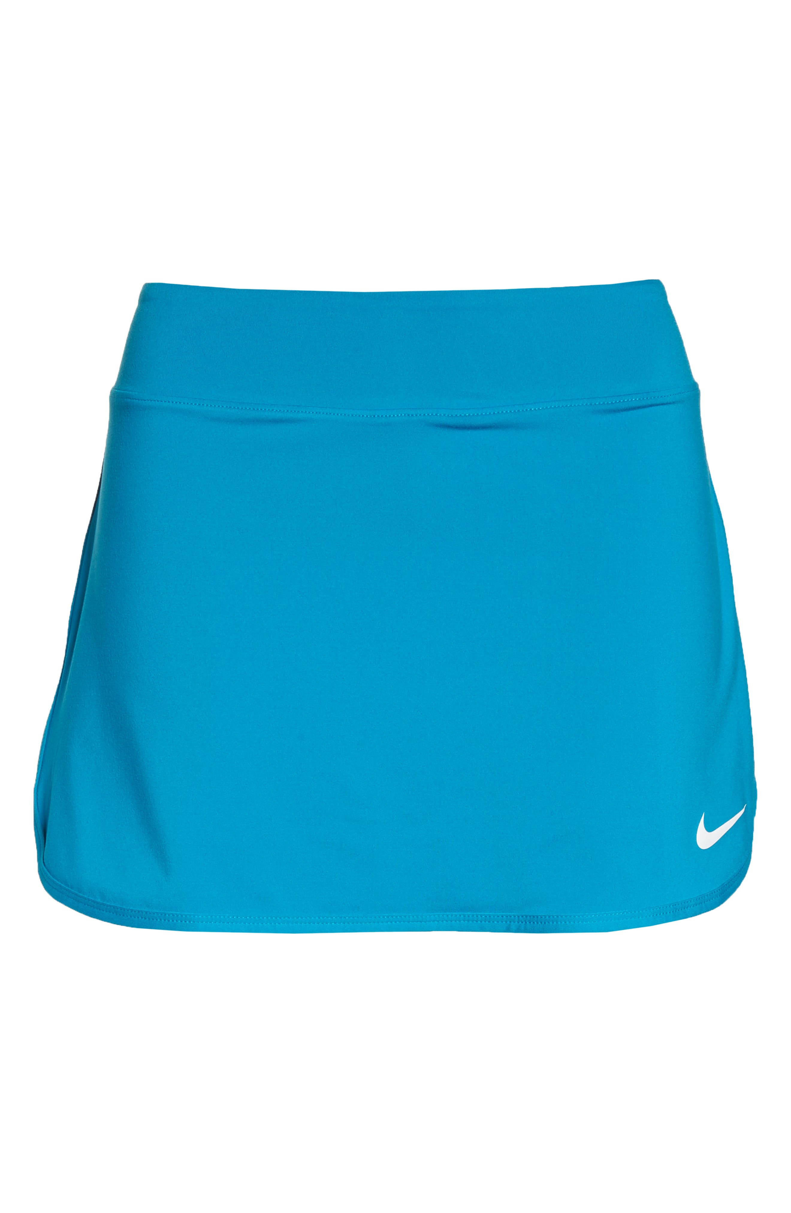 'Pure' Dri-FIT Tennis Skirt,                             Alternate thumbnail 7, color,                             Neo Turquoise/ White