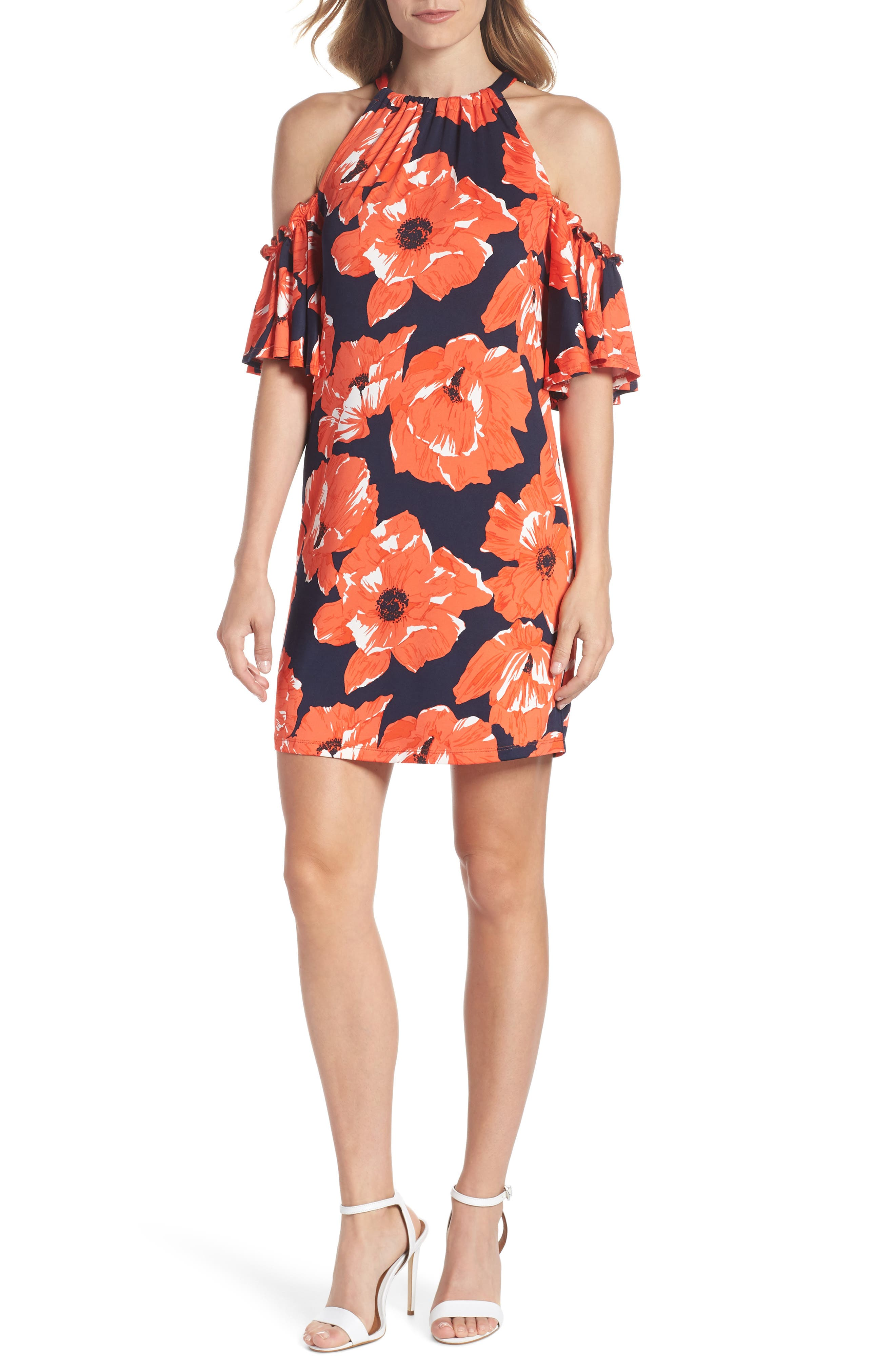 Lexi Poppy Cold Shoulder Shift Dress,                             Main thumbnail 1, color,                             Indigo/ Red Ginger