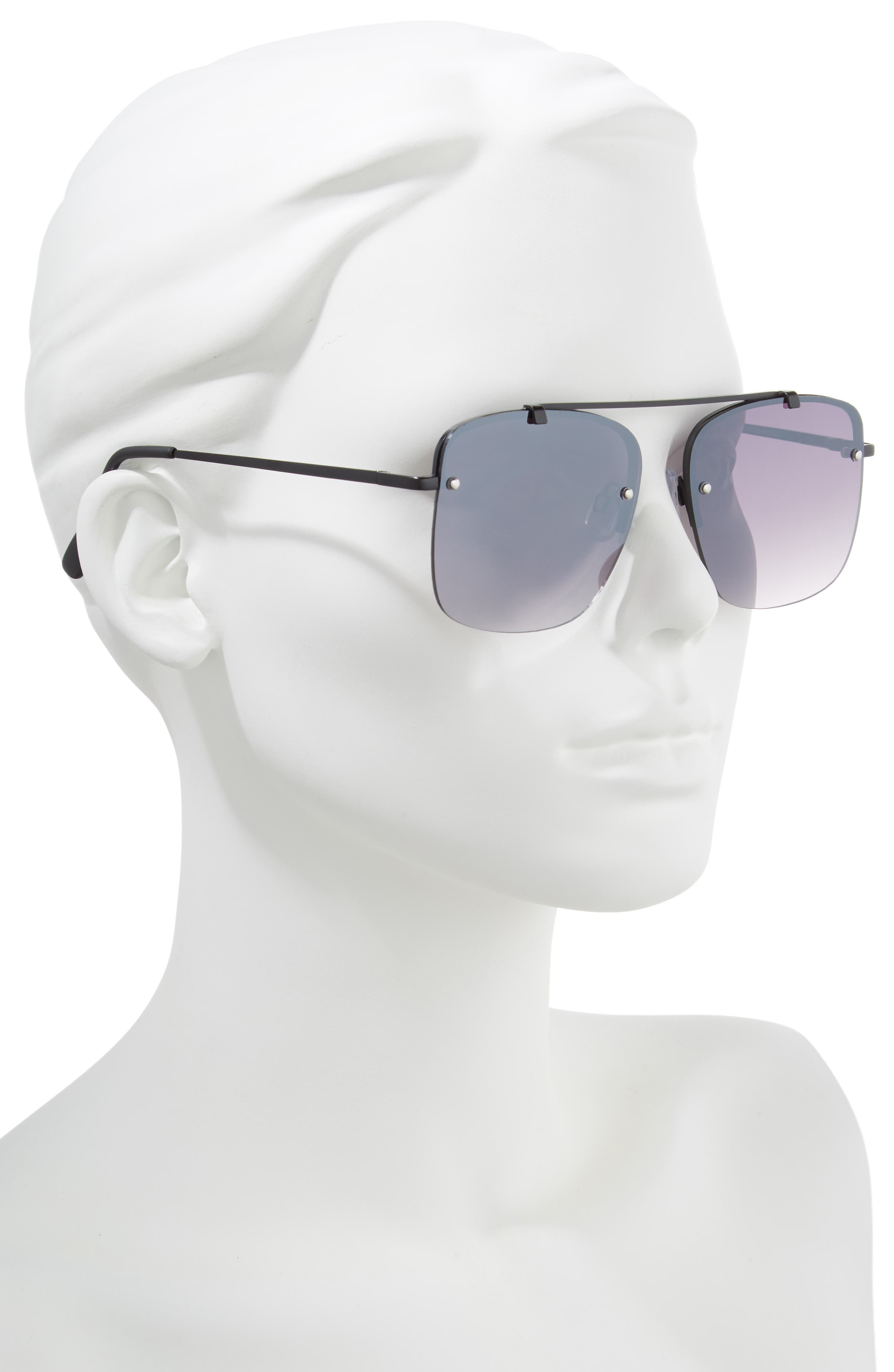 Rimless Square Sunglasses,                             Alternate thumbnail 2, color,                             Black/ Black
