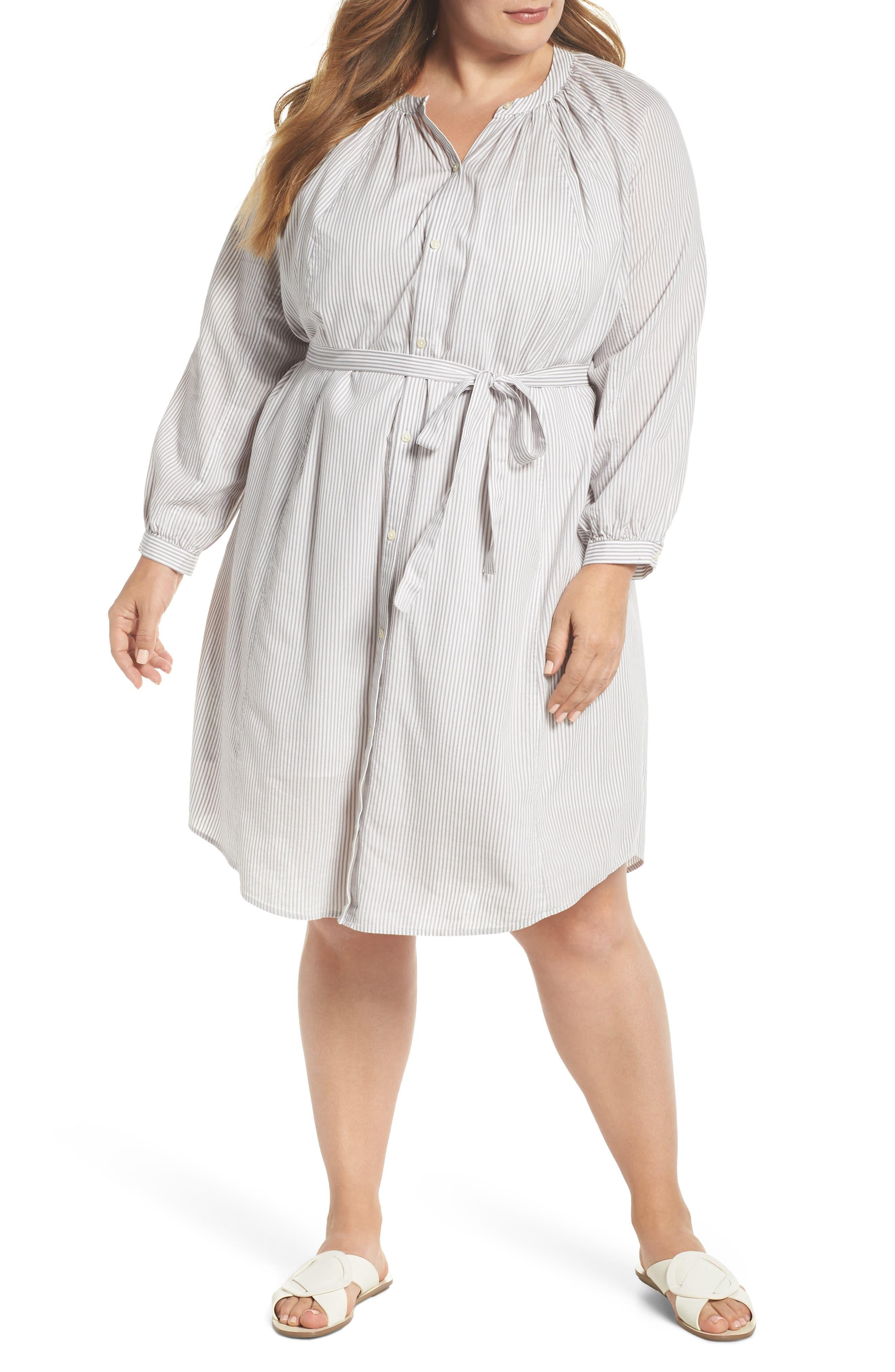 Stripe Peasant Dress,                         Main,                         color, Grey Multi