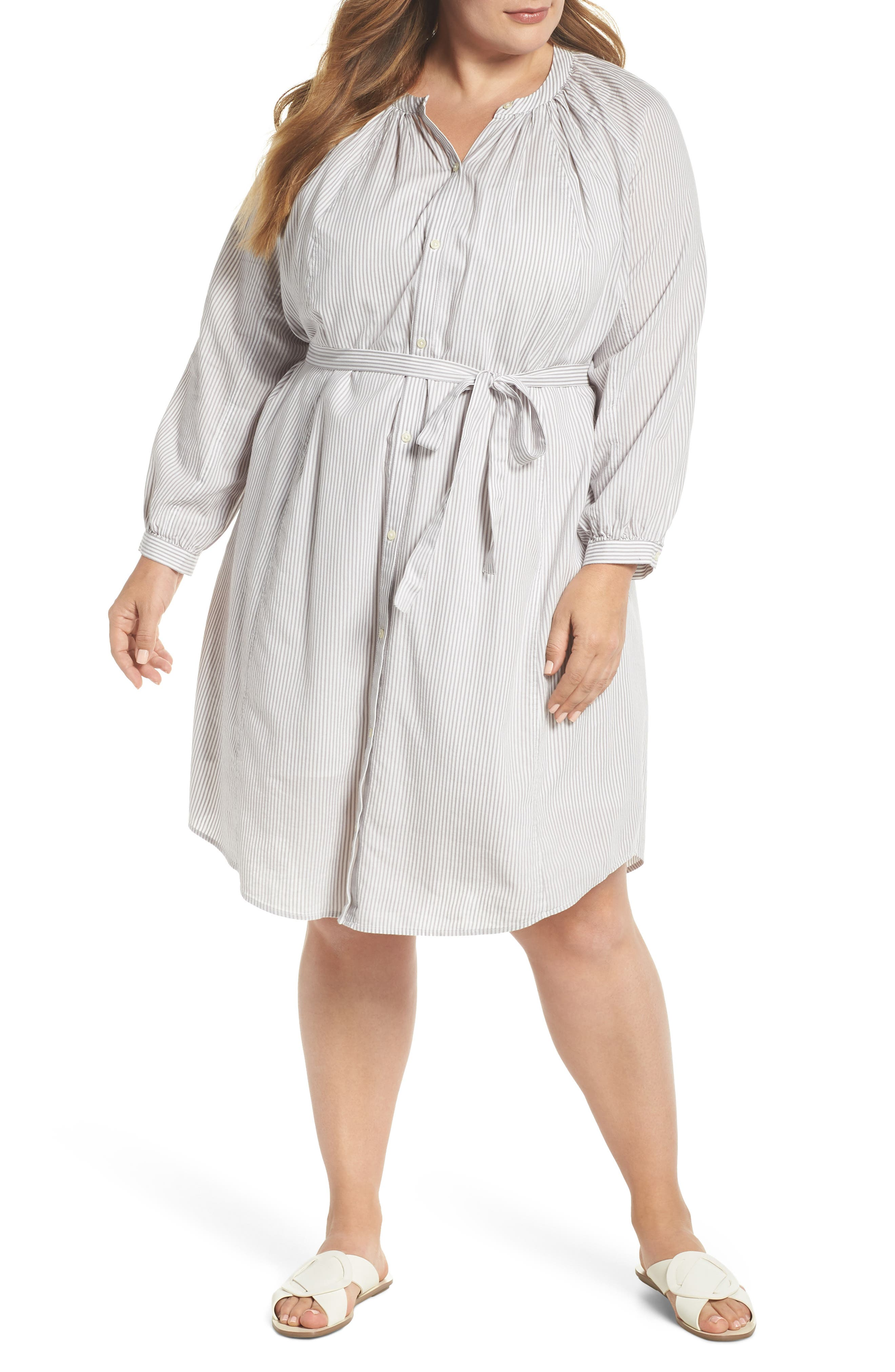 Lucky Brand Stripe Peasant Dress (Plus Size)