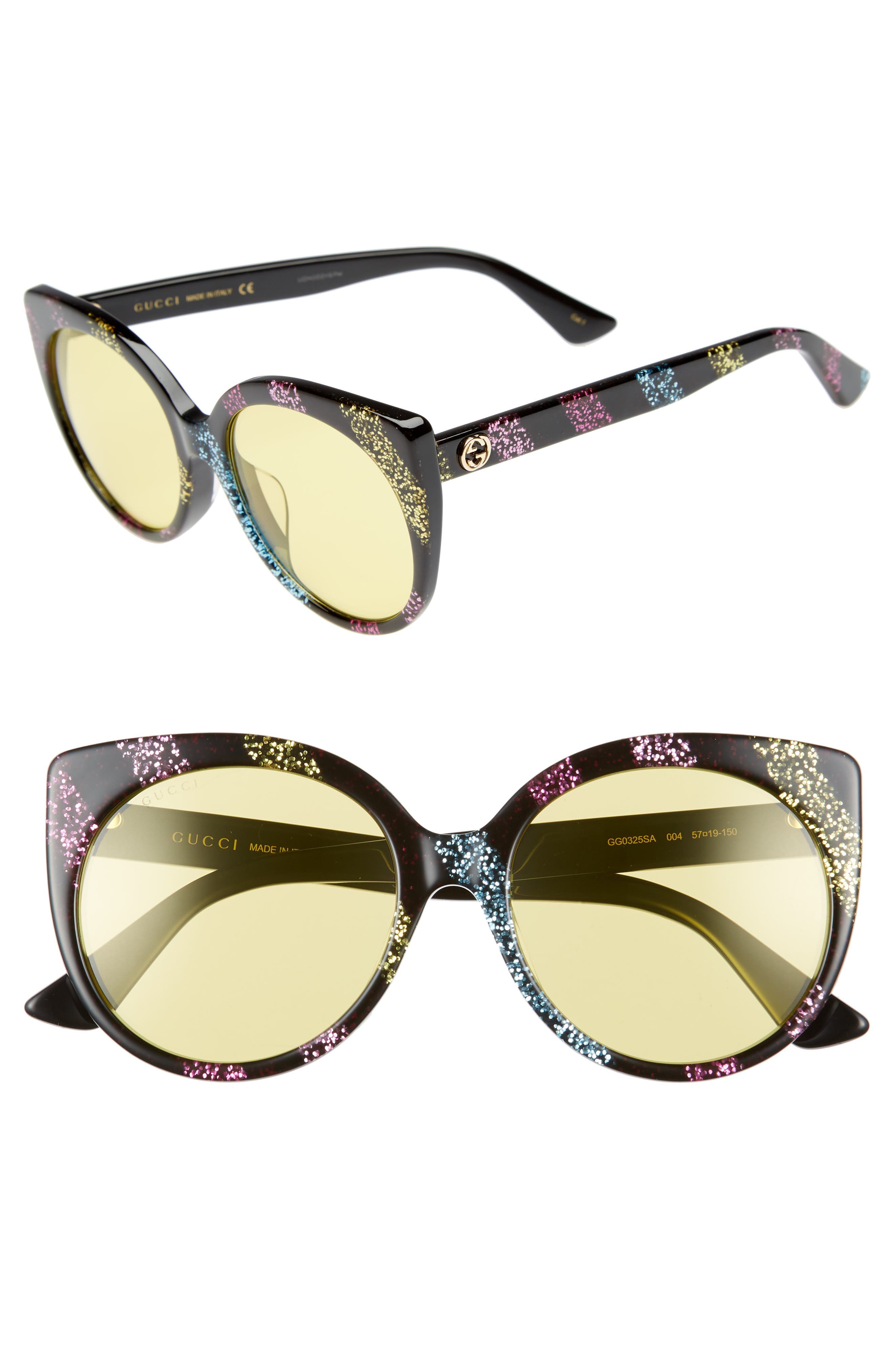 57mm Cat Eye Sunglasses,                             Main thumbnail 1, color,                             Pink/ Multicolor