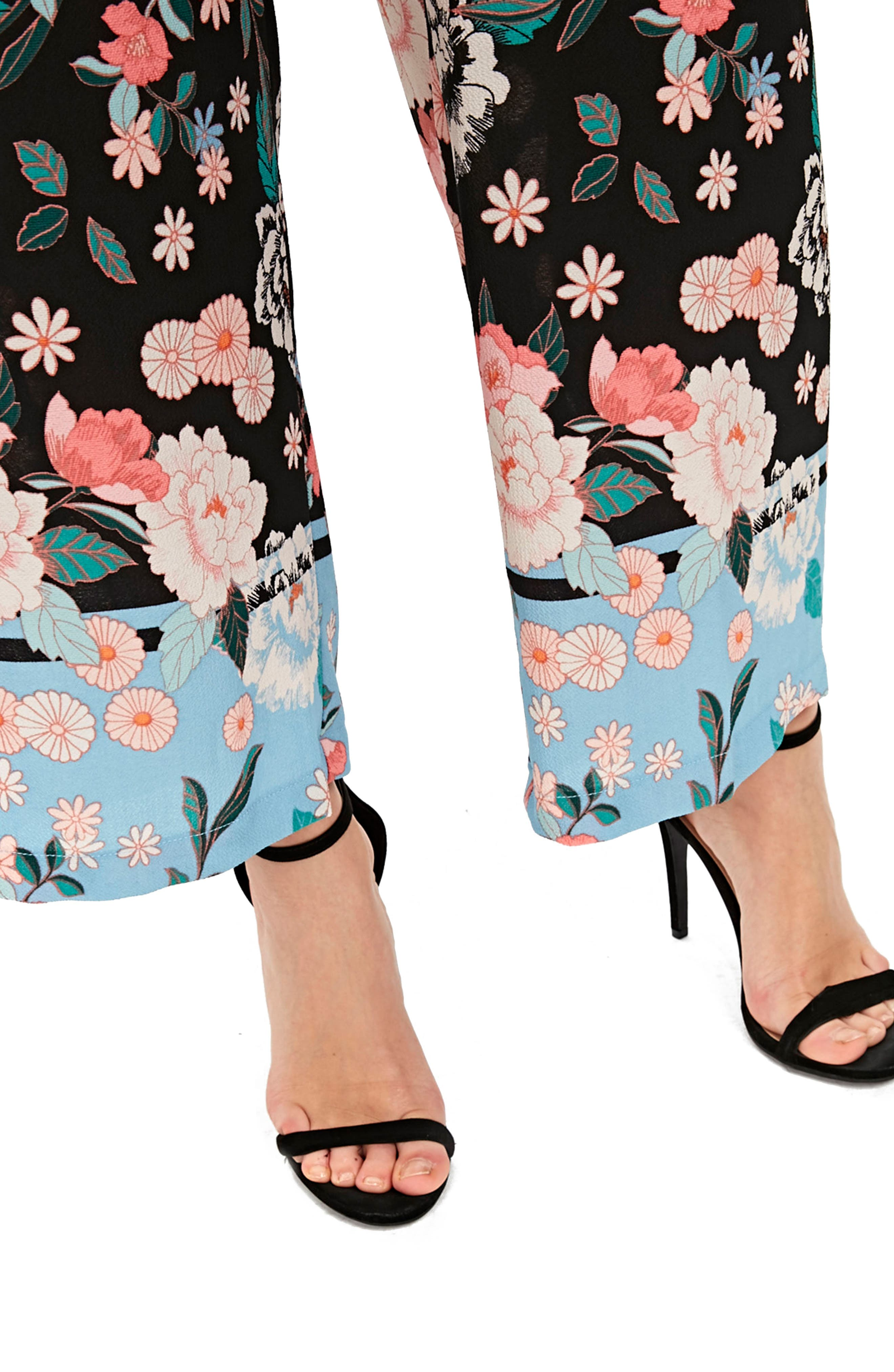 Border Floral Wide Leg Pants,                             Alternate thumbnail 3, color,                             Black