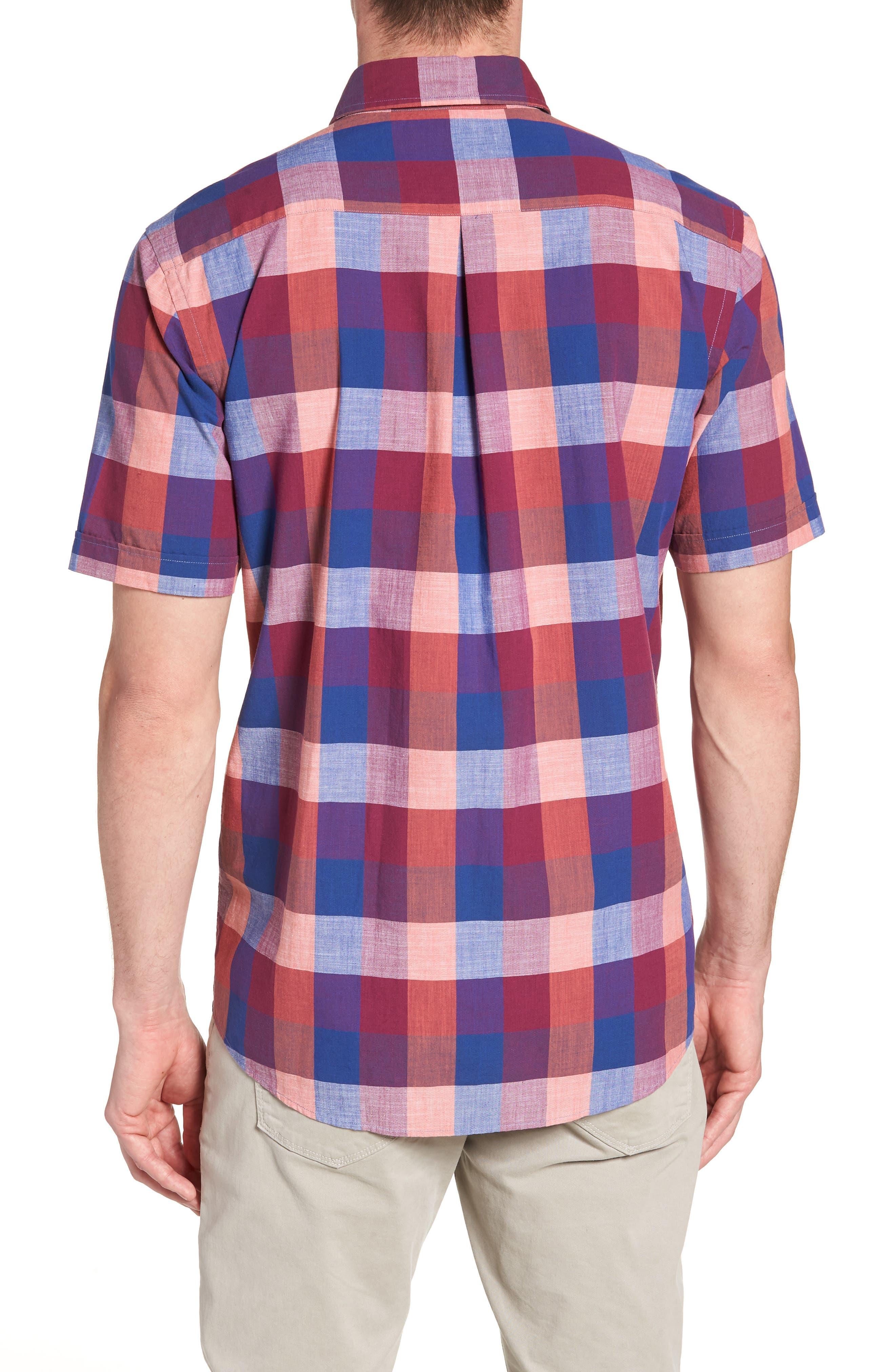 Knighton Regular Fit Sport Shirt,                             Alternate thumbnail 3, color,                             Berry