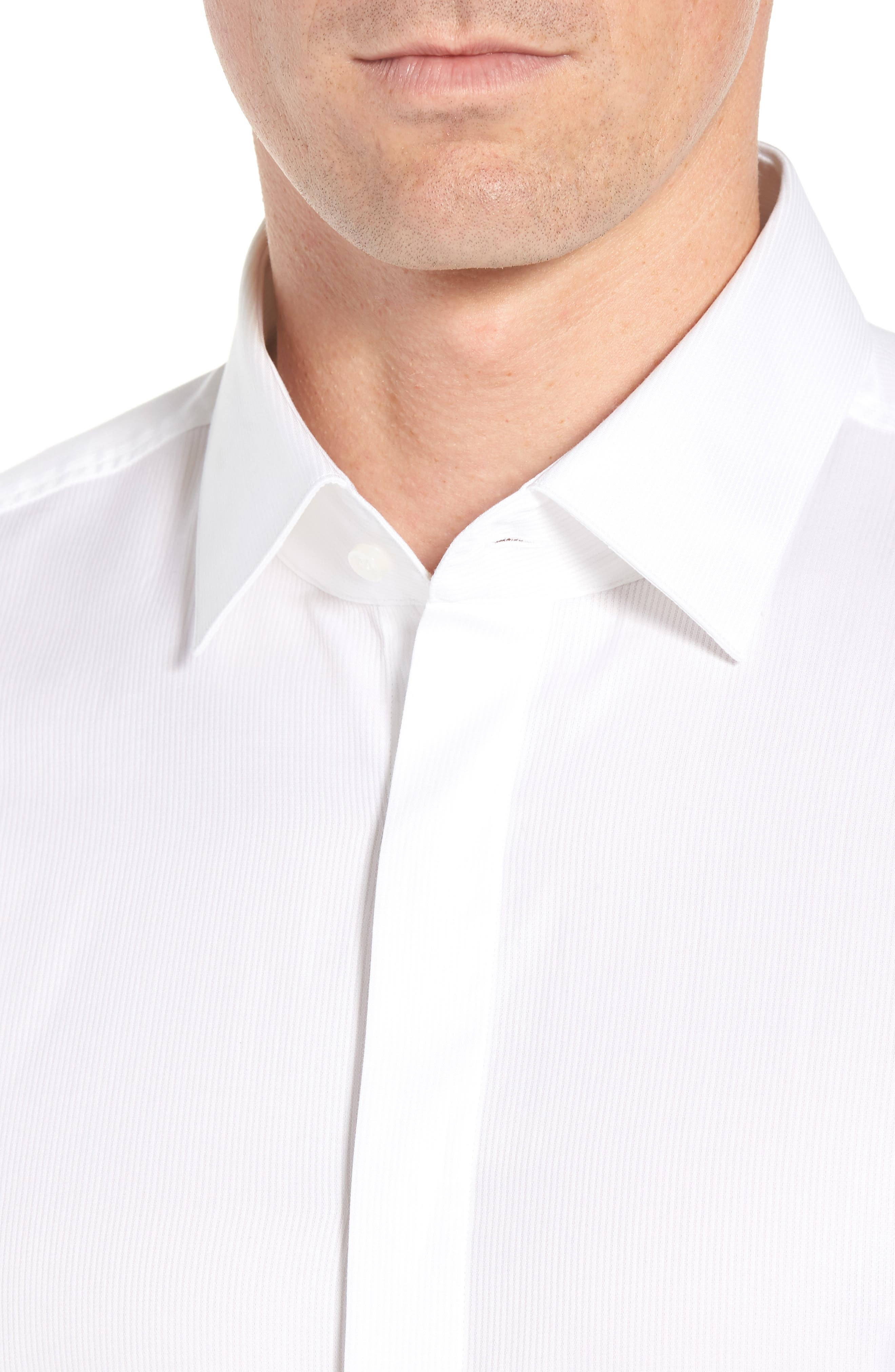 Myron Sharp Fit Tuxedo Shirt,                             Alternate thumbnail 2, color,                             White