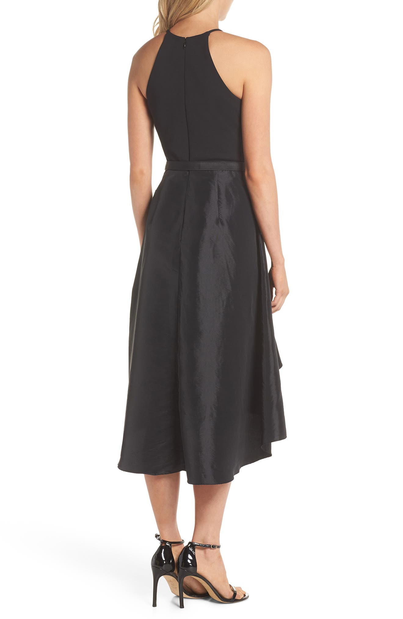 Asymmetrical Tea Length Dress,                             Alternate thumbnail 2, color,                             Black