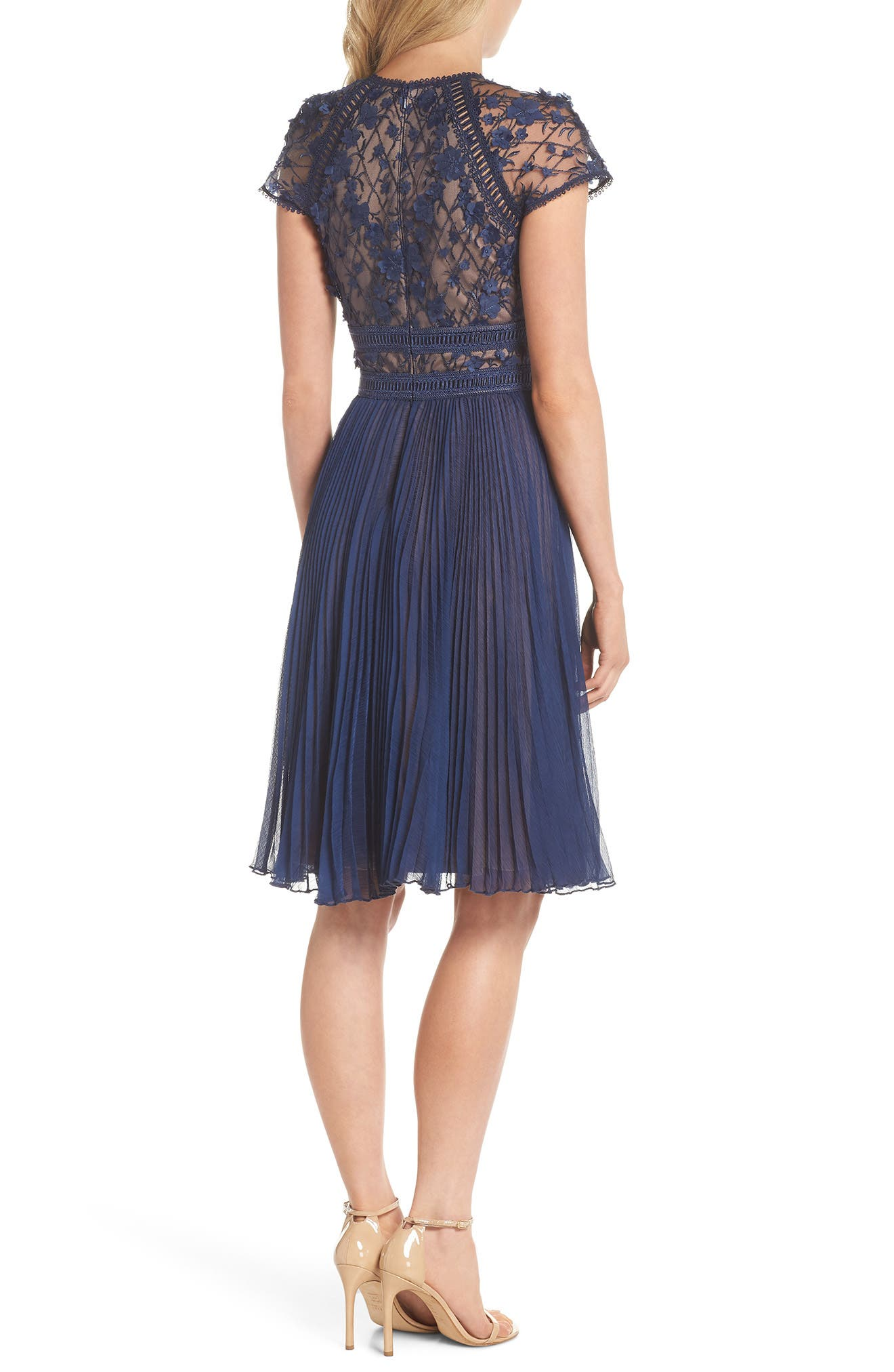 Embroidered Mesh & Chiffon Dress,                             Alternate thumbnail 2, color,                             Midnight/ Nude