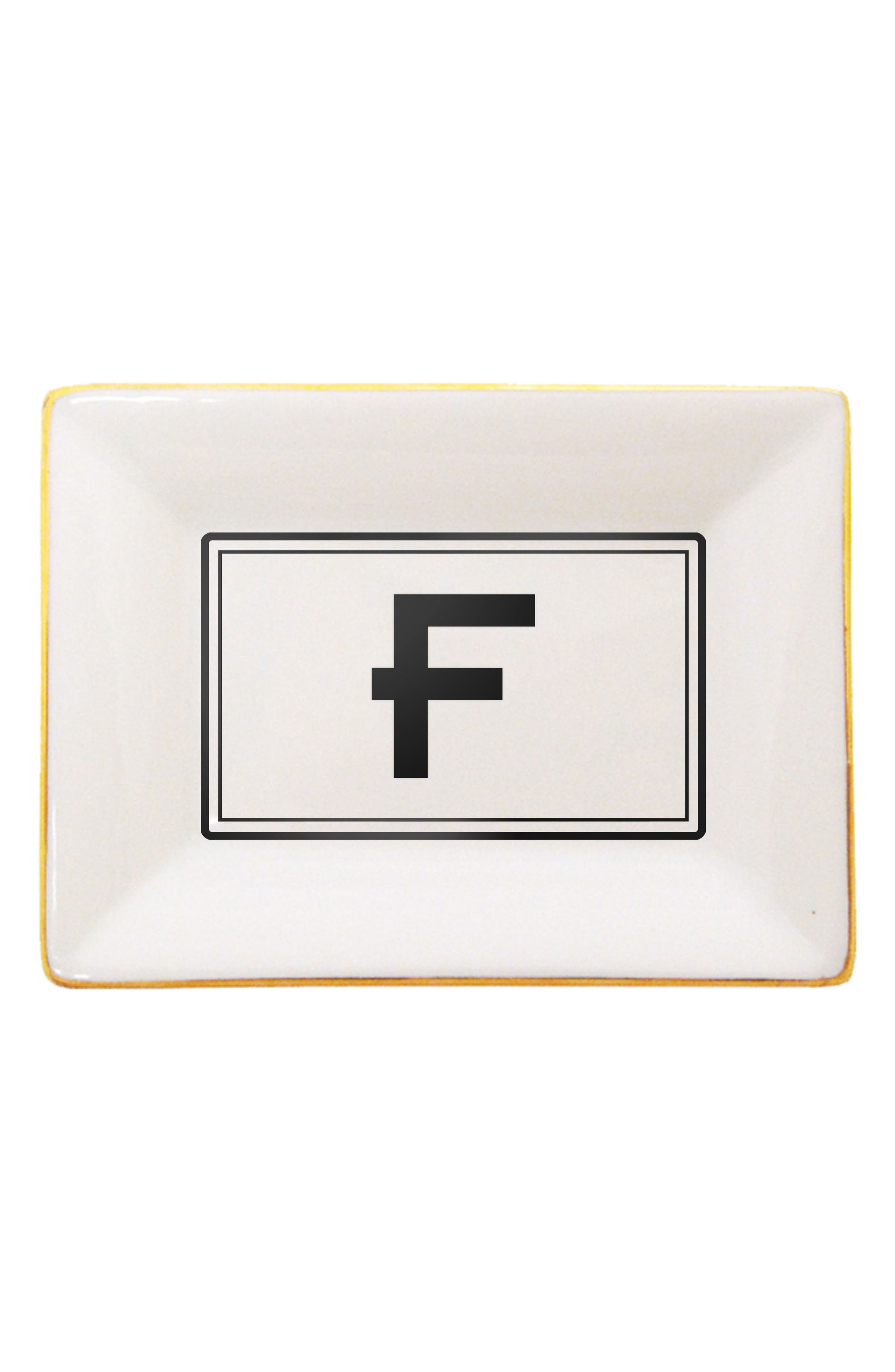 Brooklyn Gold Edge Porcelain Initial Tray,                             Main thumbnail 1, color,                             F