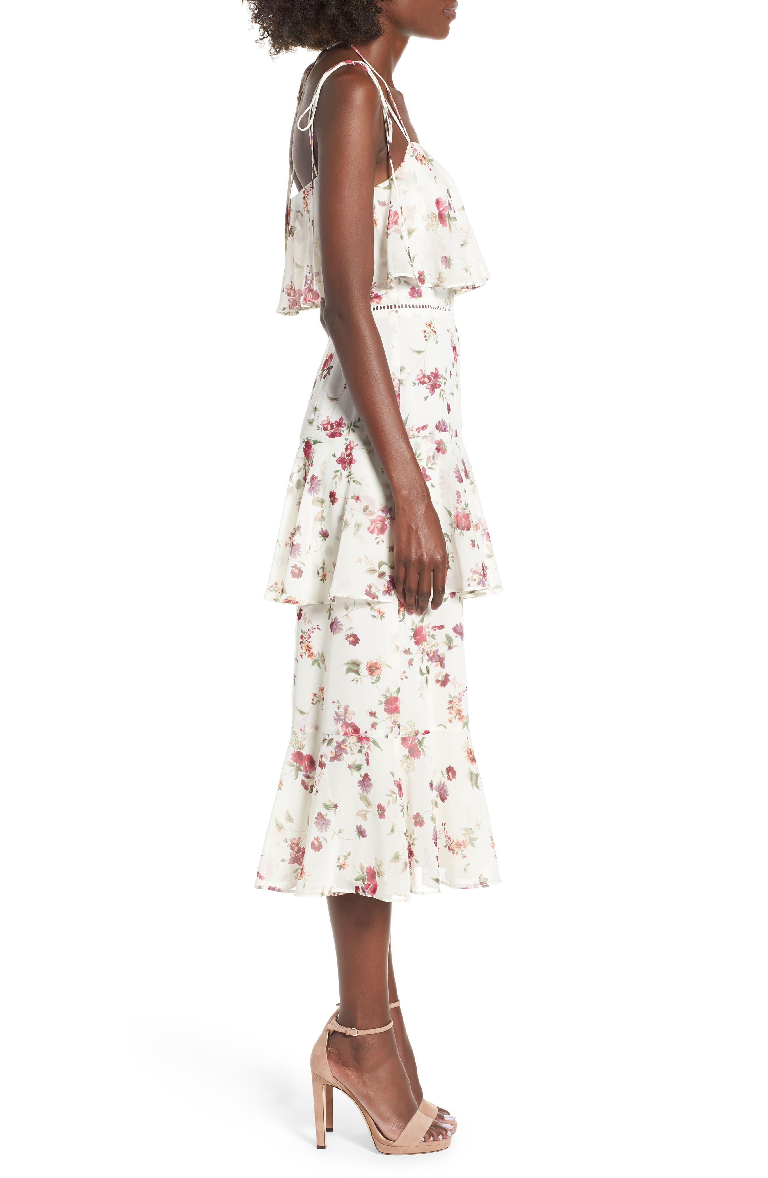 Imola Tiered Midi Dress,                             Alternate thumbnail 3, color,                             Ivory Floral