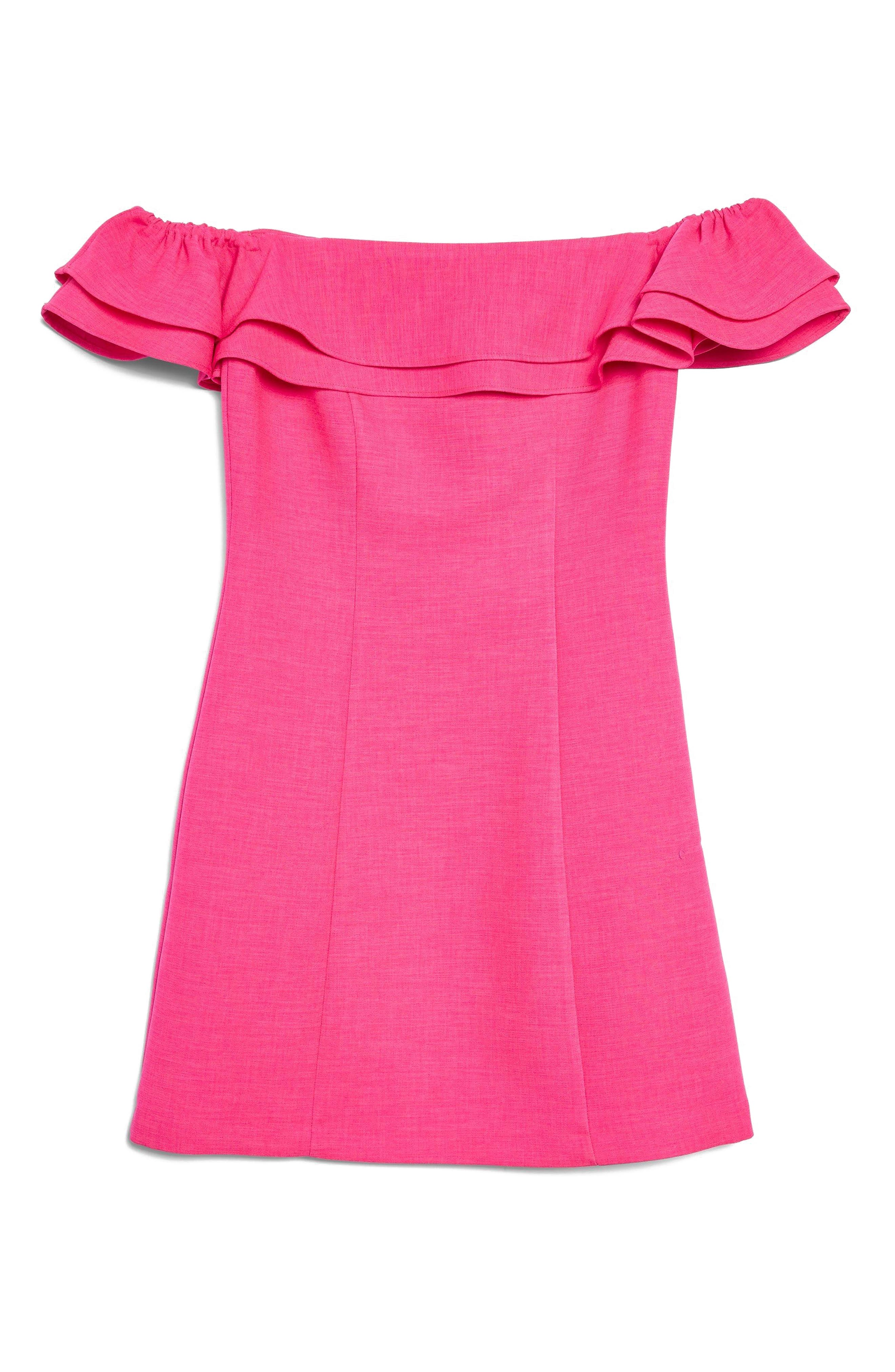 Off the Shoulder Ruffle Minidress,                             Alternate thumbnail 5, color,                             Pink
