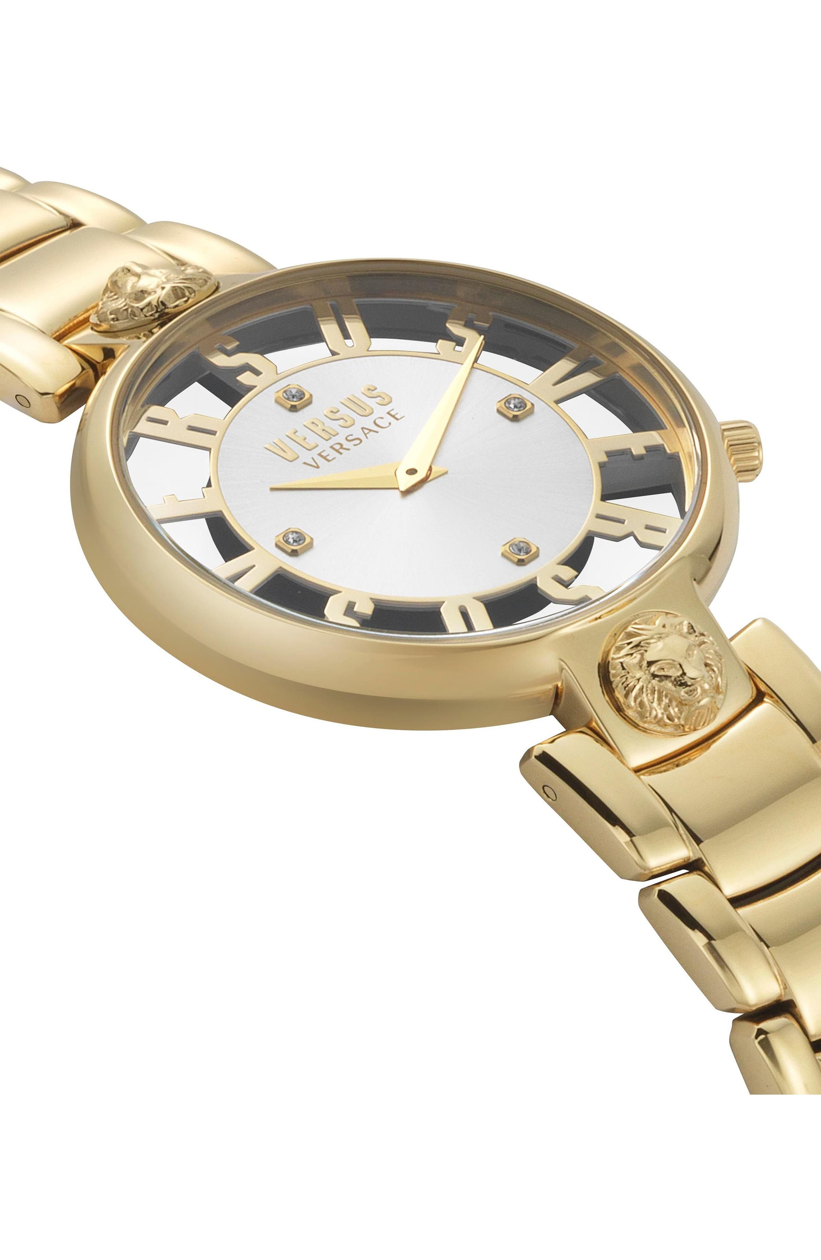 VERSUS by Versace Kristenhof Bracelet Watch, 34mm,                             Alternate thumbnail 3, color,                             Gold/ Silver