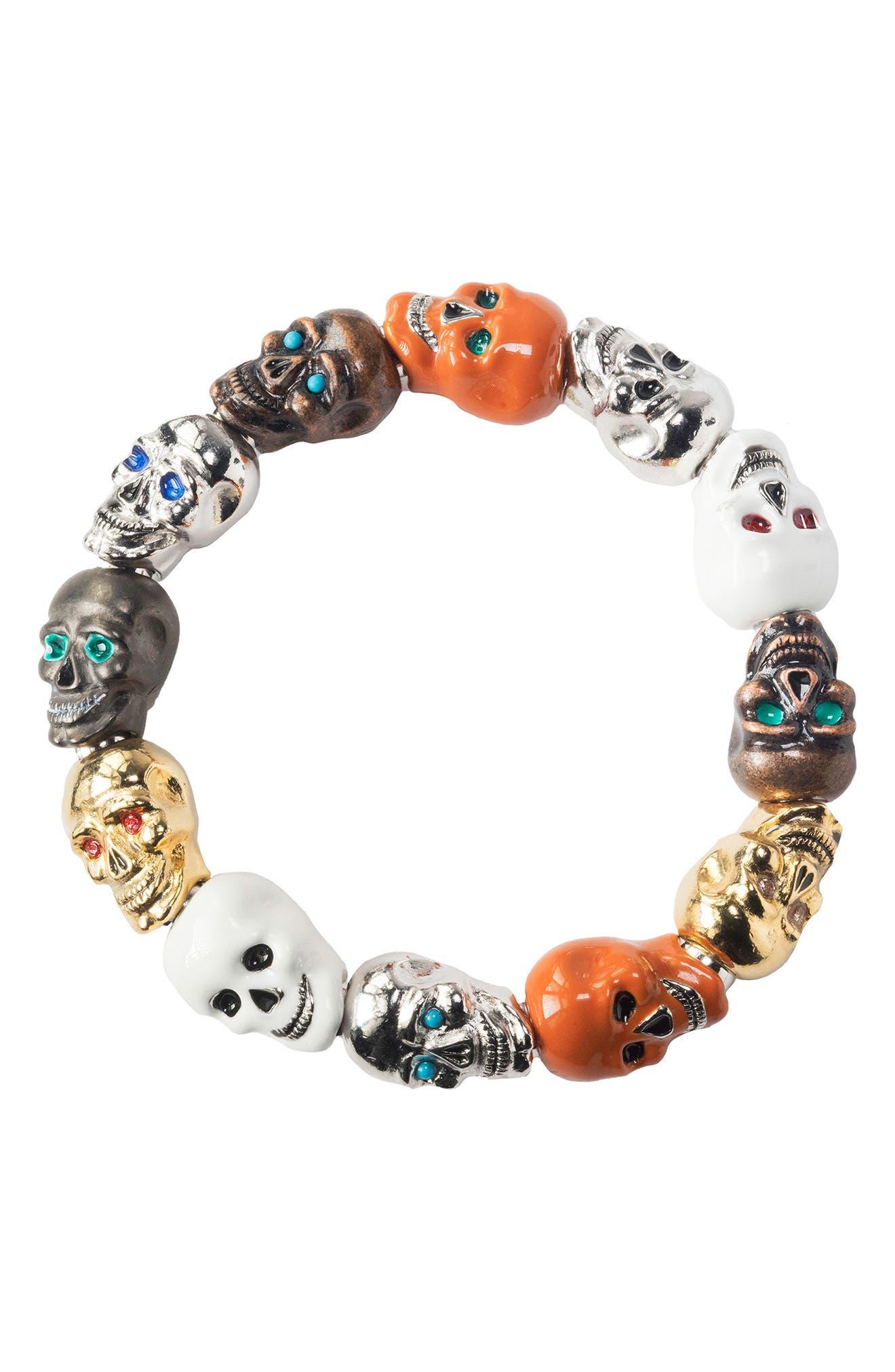 Skulls Medium Stretch Bracelet,                             Alternate thumbnail 2, color,                             Multi