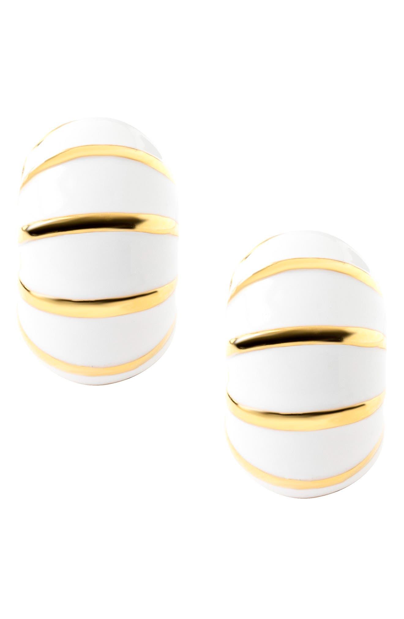 Goldtone & White Reversible Earrings,                             Alternate thumbnail 4, color,                             White/ Gold