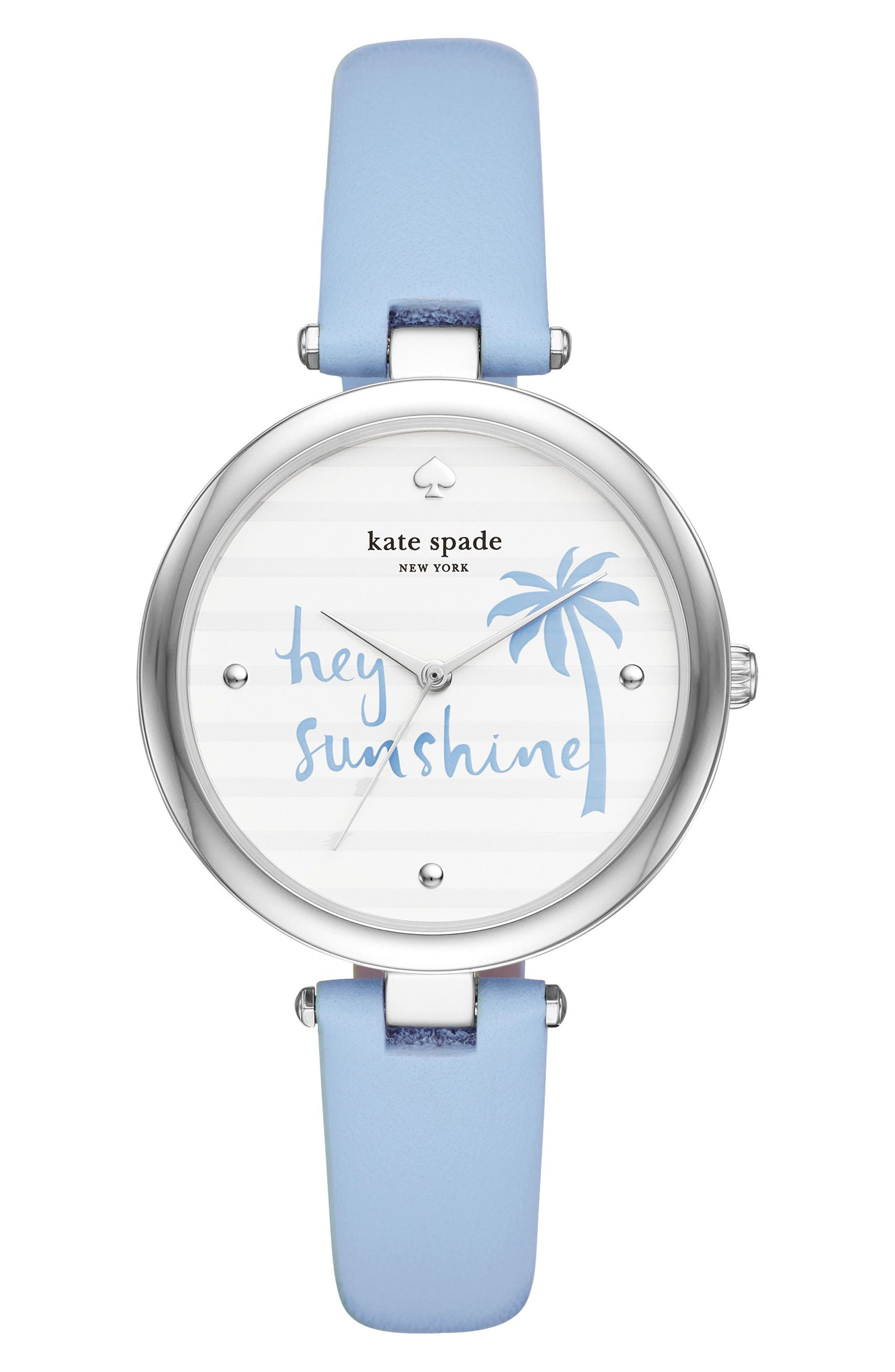 varick leather strap watch, 36mm,                         Main,                         color, Blue/ White/ Silver