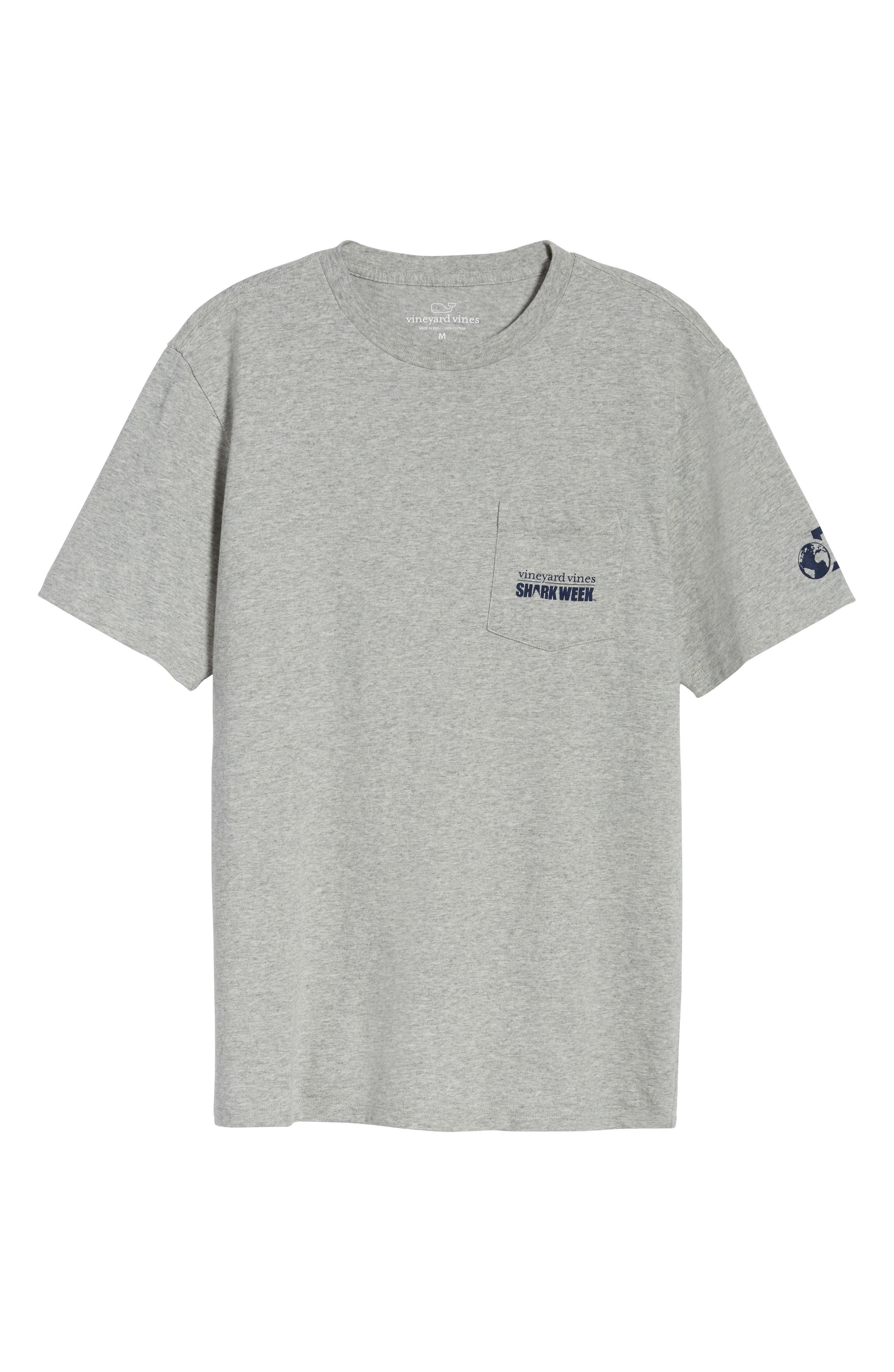 x Shark Week<sup>™</sup> Sharks & Stripes Pocket T-Shirt,                             Alternate thumbnail 5, color,                             Grey Heather