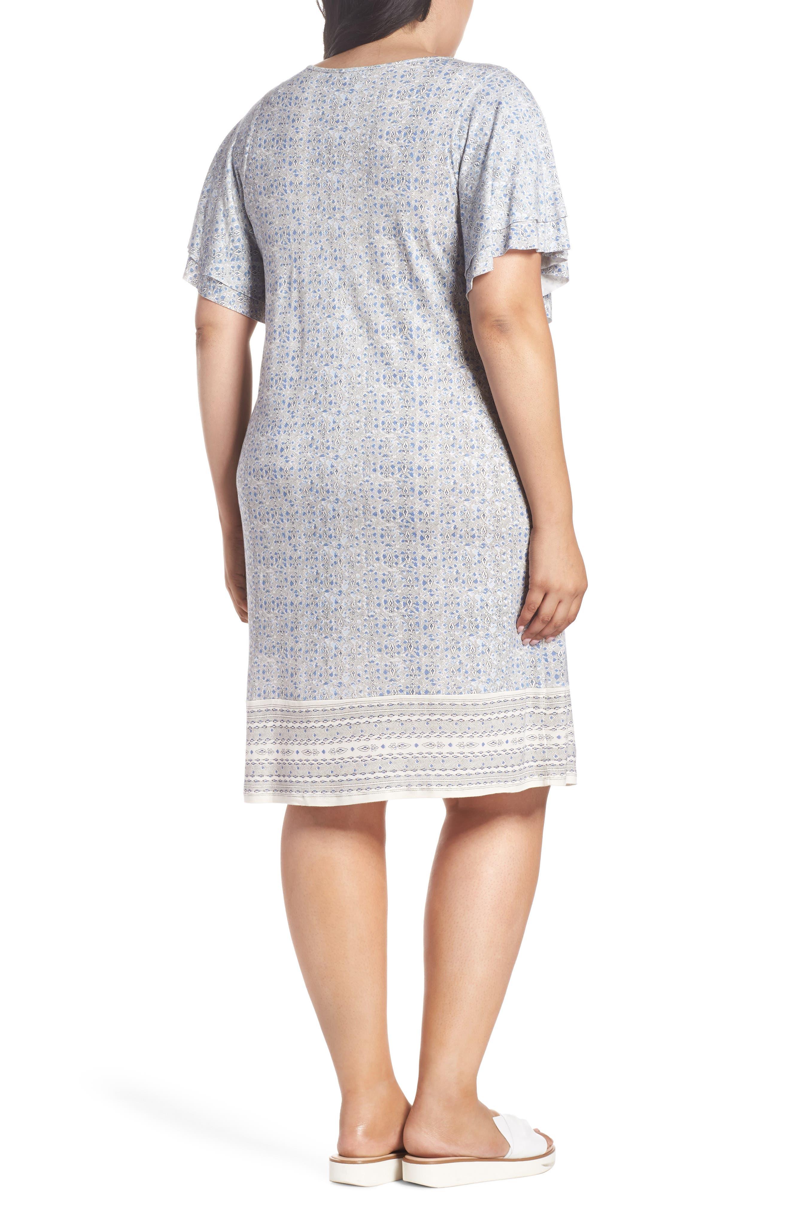 Ruffle Sleeve Print Shift Dress,                             Alternate thumbnail 2, color,                             Blue Multi