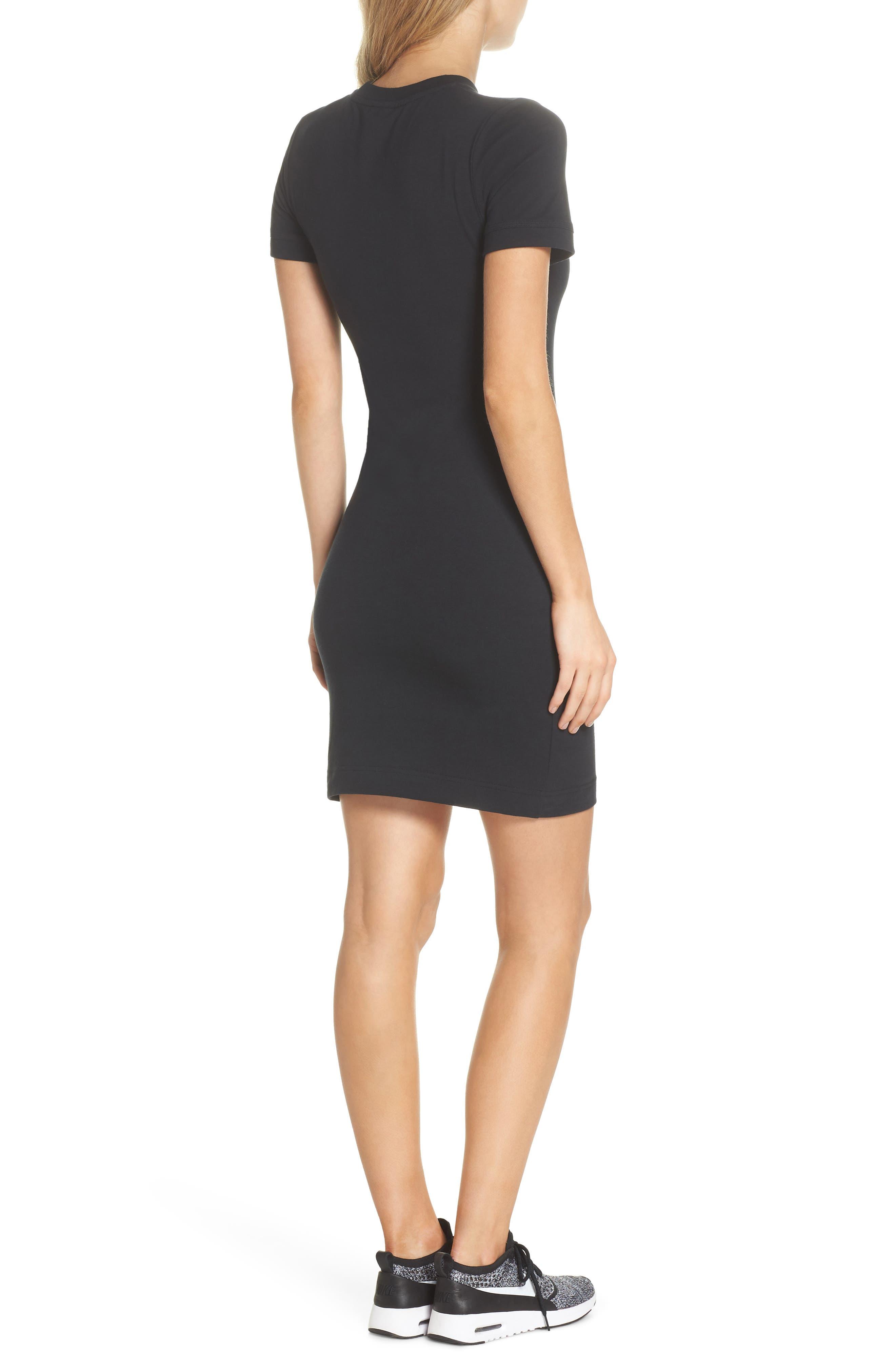 Sportswear T-Shirt Dress,                             Alternate thumbnail 2, color,                             Black/ White