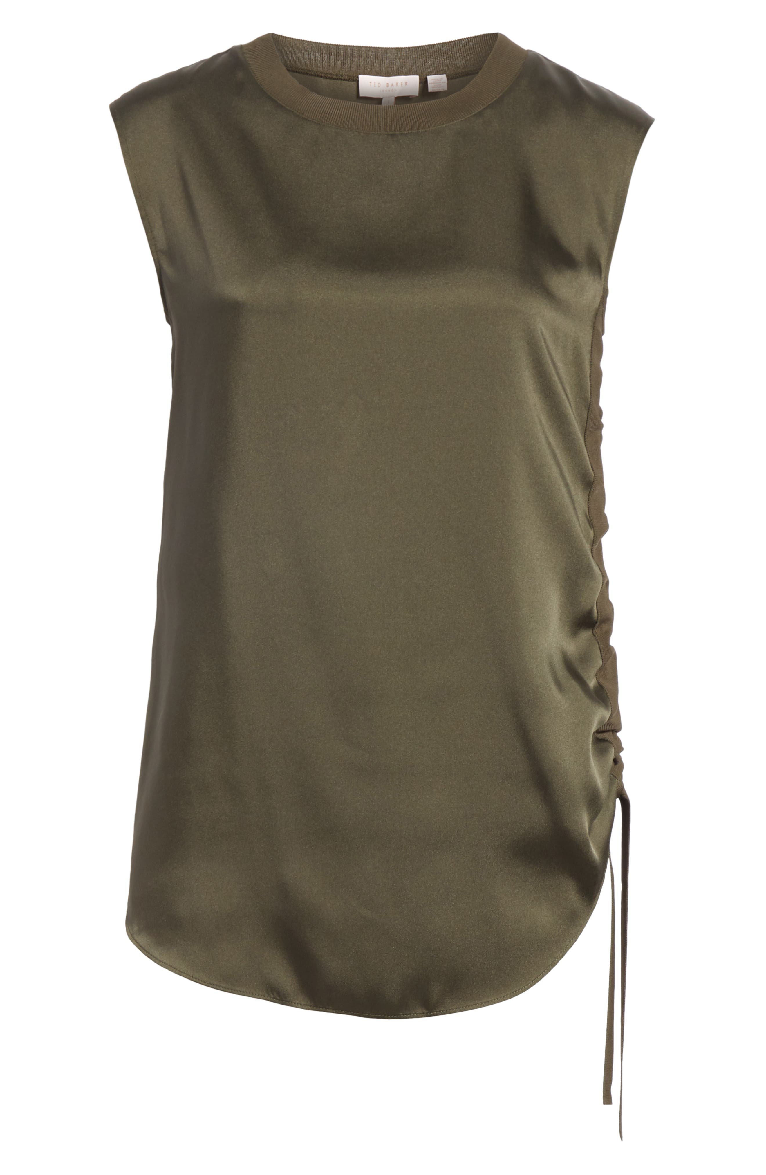 Side Ruched Top,                         Main,                         color, Khaki
