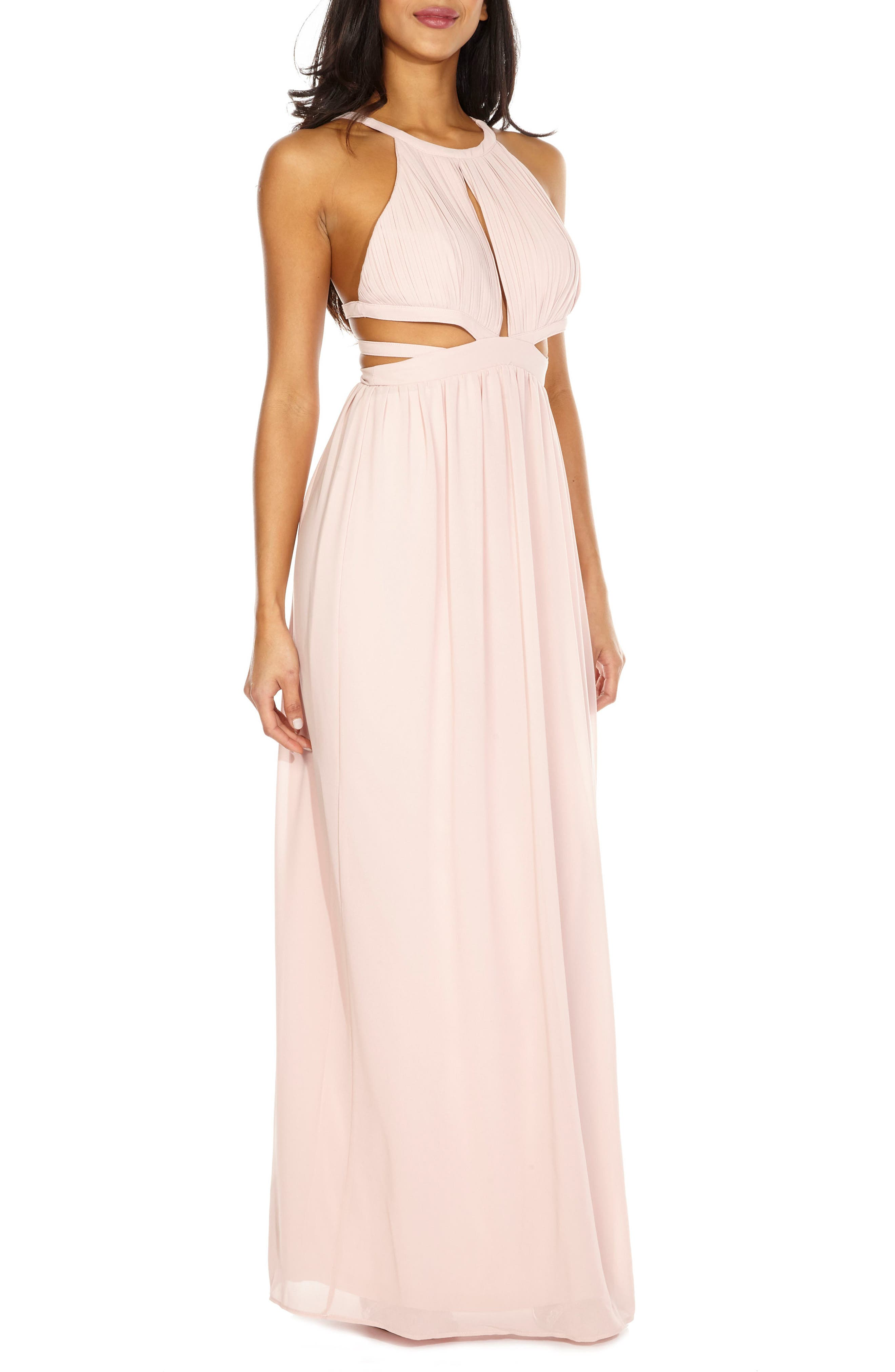 Evanthe Cutout Chiffon Gown,                             Alternate thumbnail 3, color,                             Pearl Pink