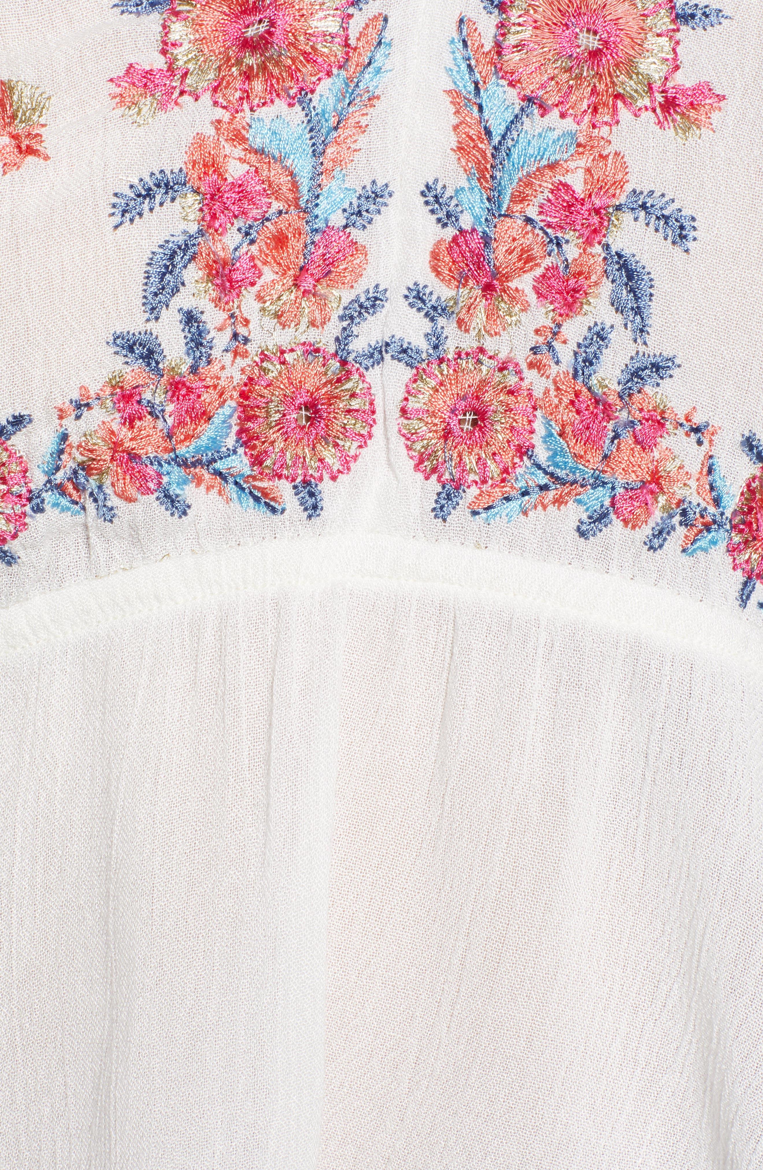 Mariah Embroidered Peplum Hem Crop Top,                             Alternate thumbnail 6, color,                             Multi