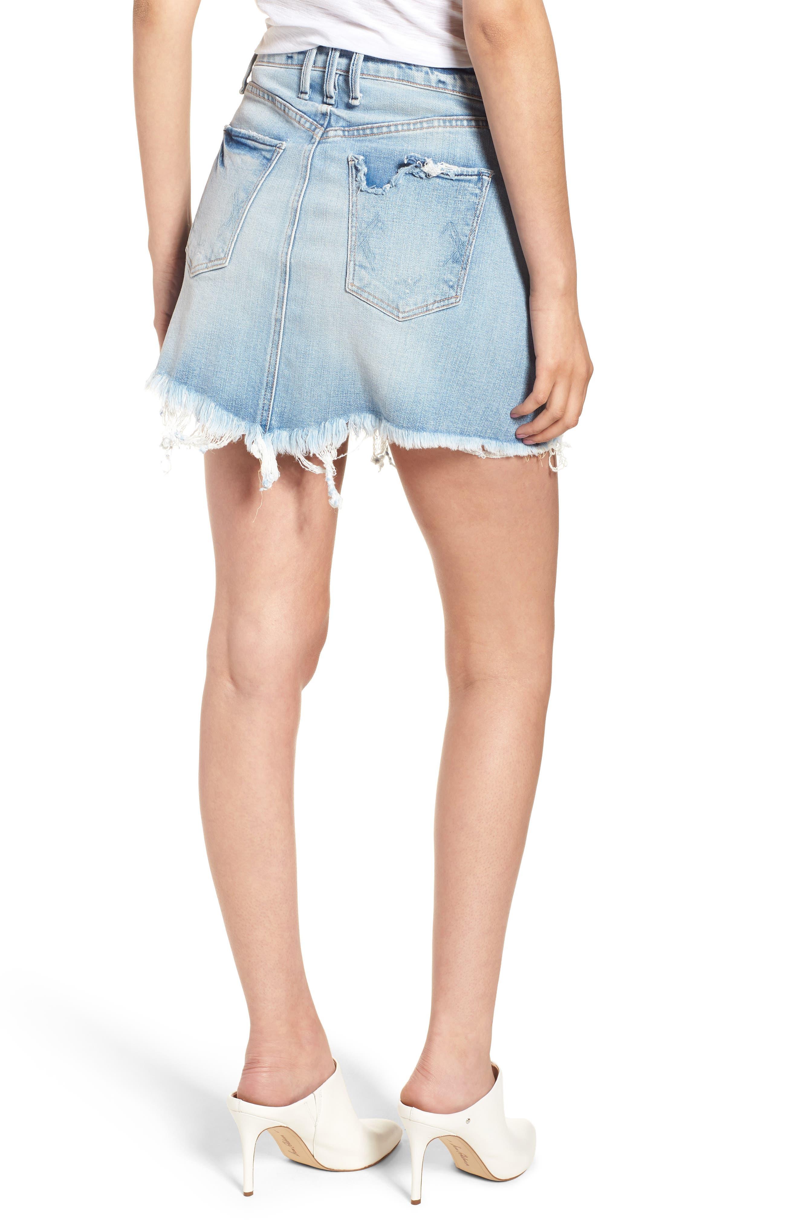 Izabel Angled Hem Denim Skirt,                             Alternate thumbnail 2, color,                             Dont Fade Away