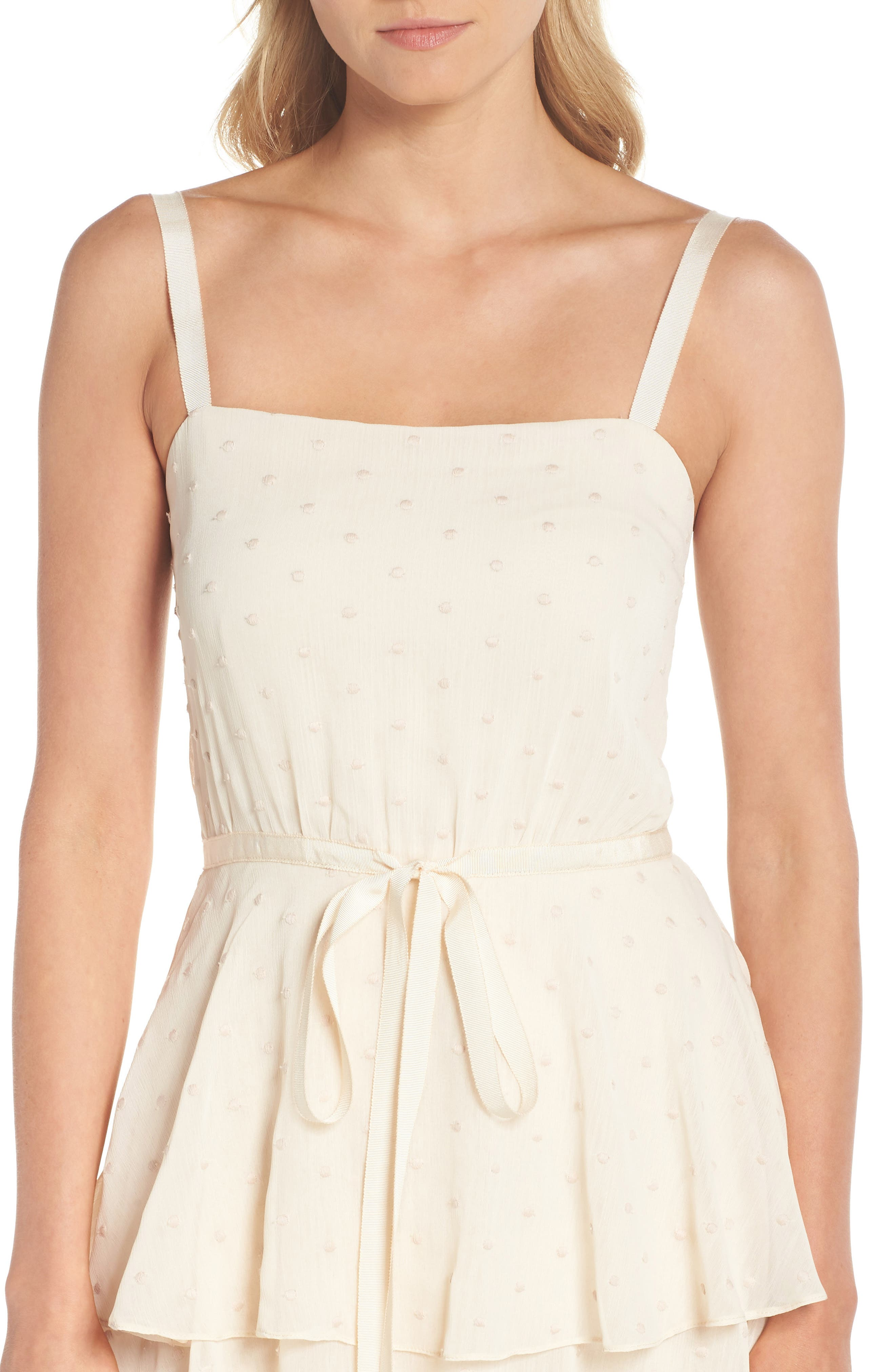Florence Chiffon Embroidered Tiered A-Line Dress,                             Alternate thumbnail 4, color,                             Bisque