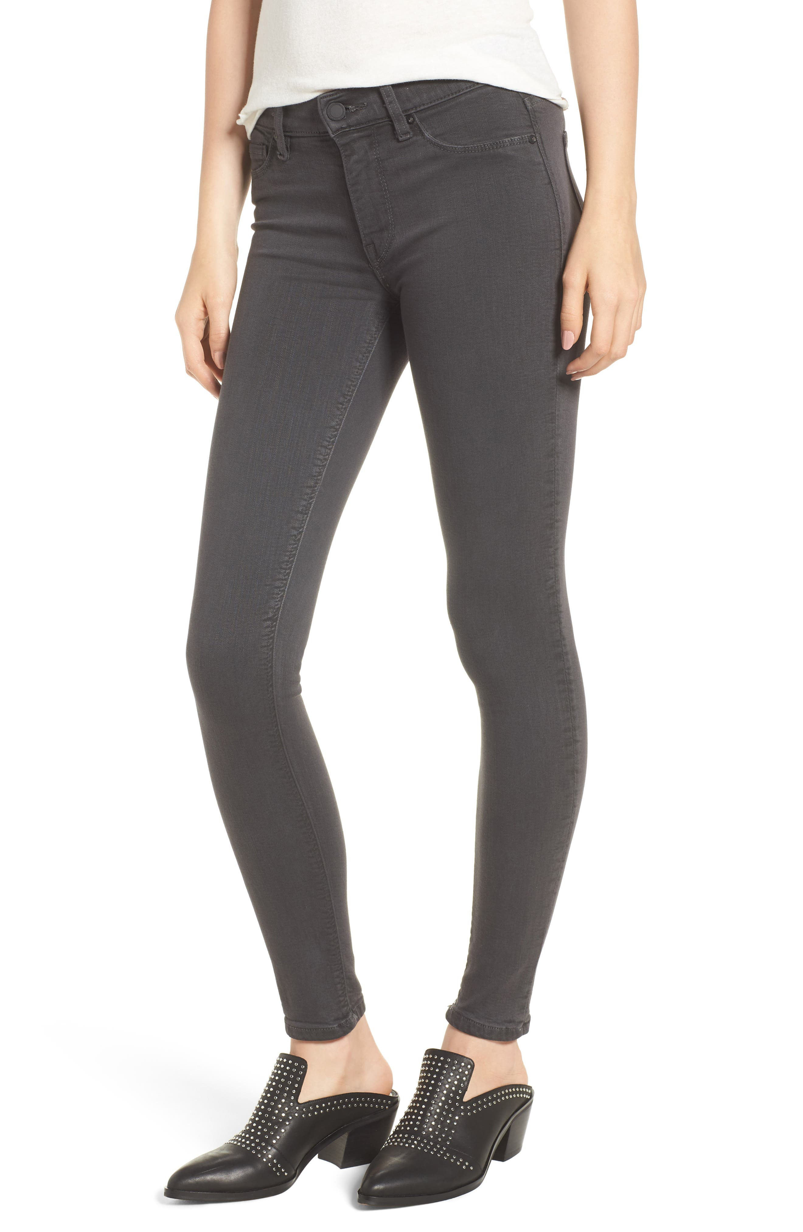 HudsonJeans Nico Coated Super Skinny Jeans,                             Main thumbnail 1, color,                             Distressed Graphite