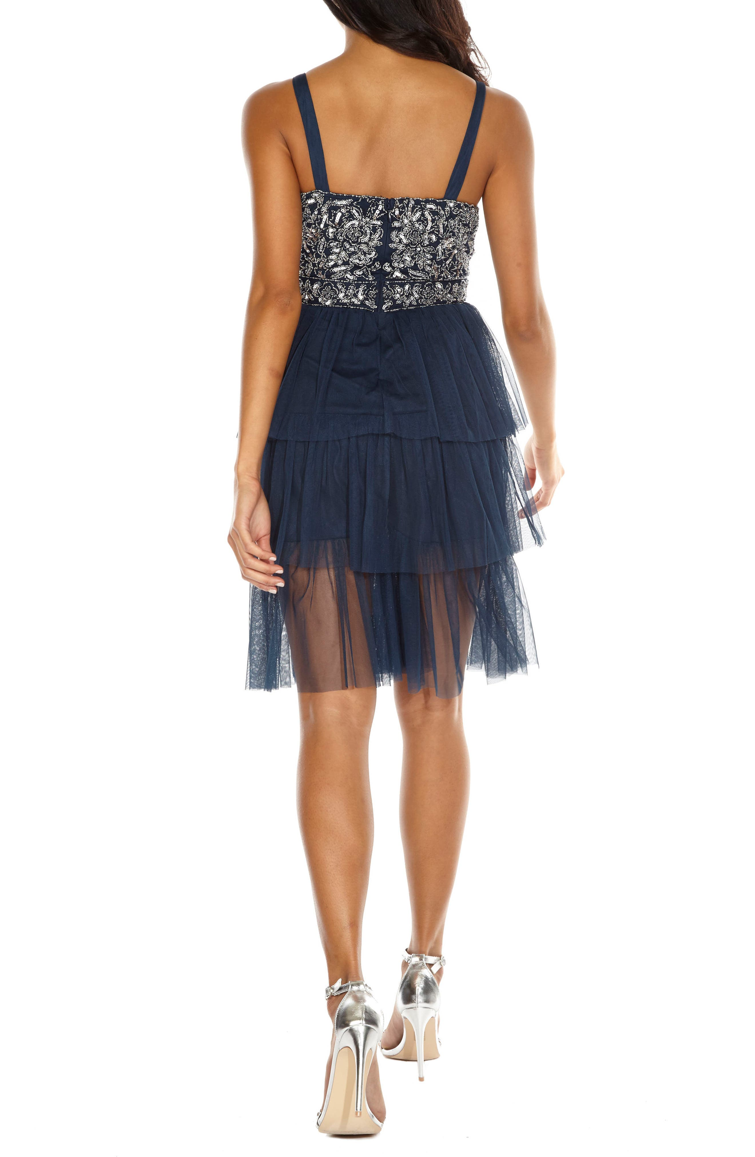 Embellished Tiered Fit & Flare Dress,                             Alternate thumbnail 2, color,                             Navy