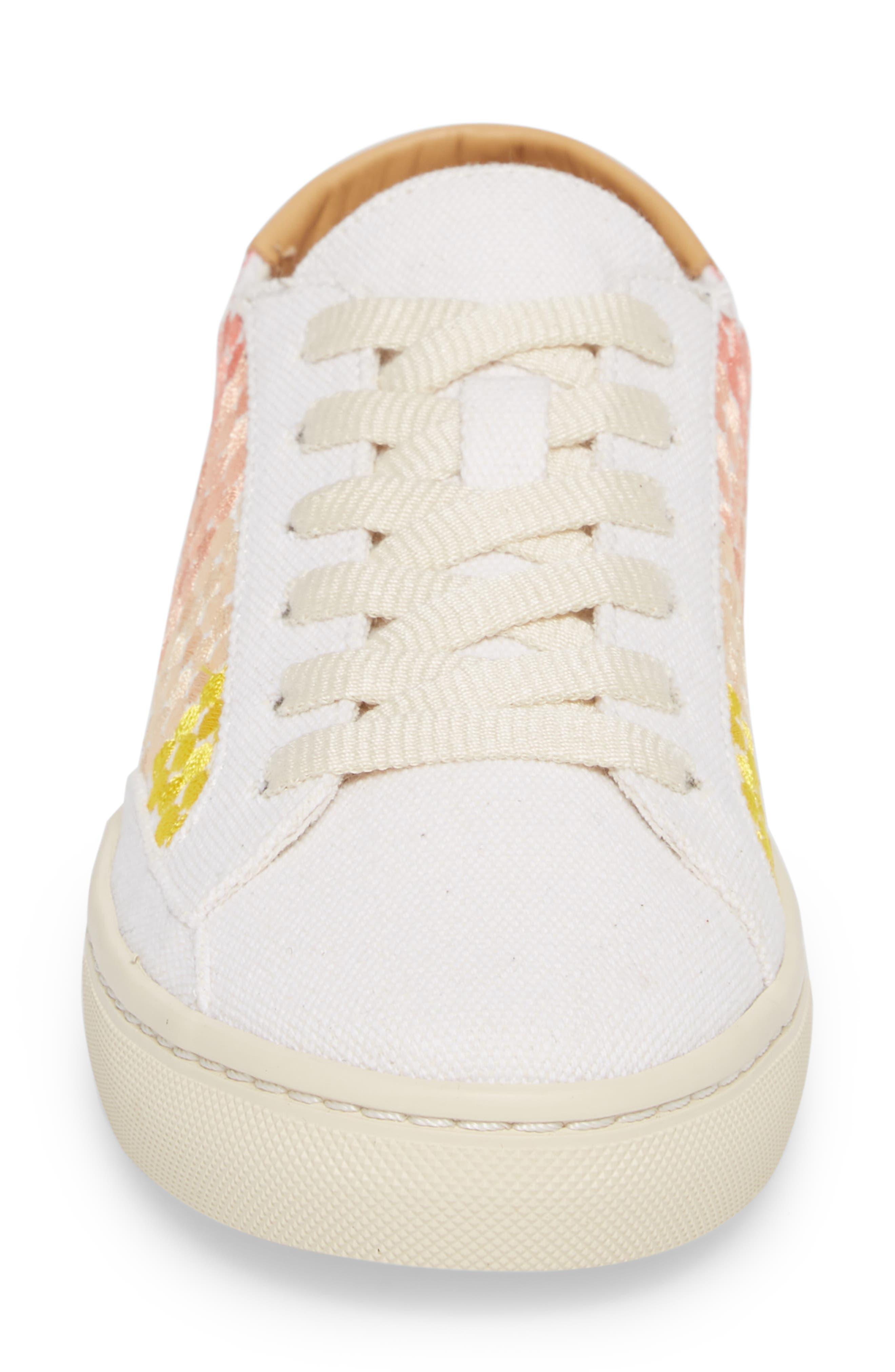 Embroidered Ombre Sneaker,                             Alternate thumbnail 4, color,                             Sunshine
