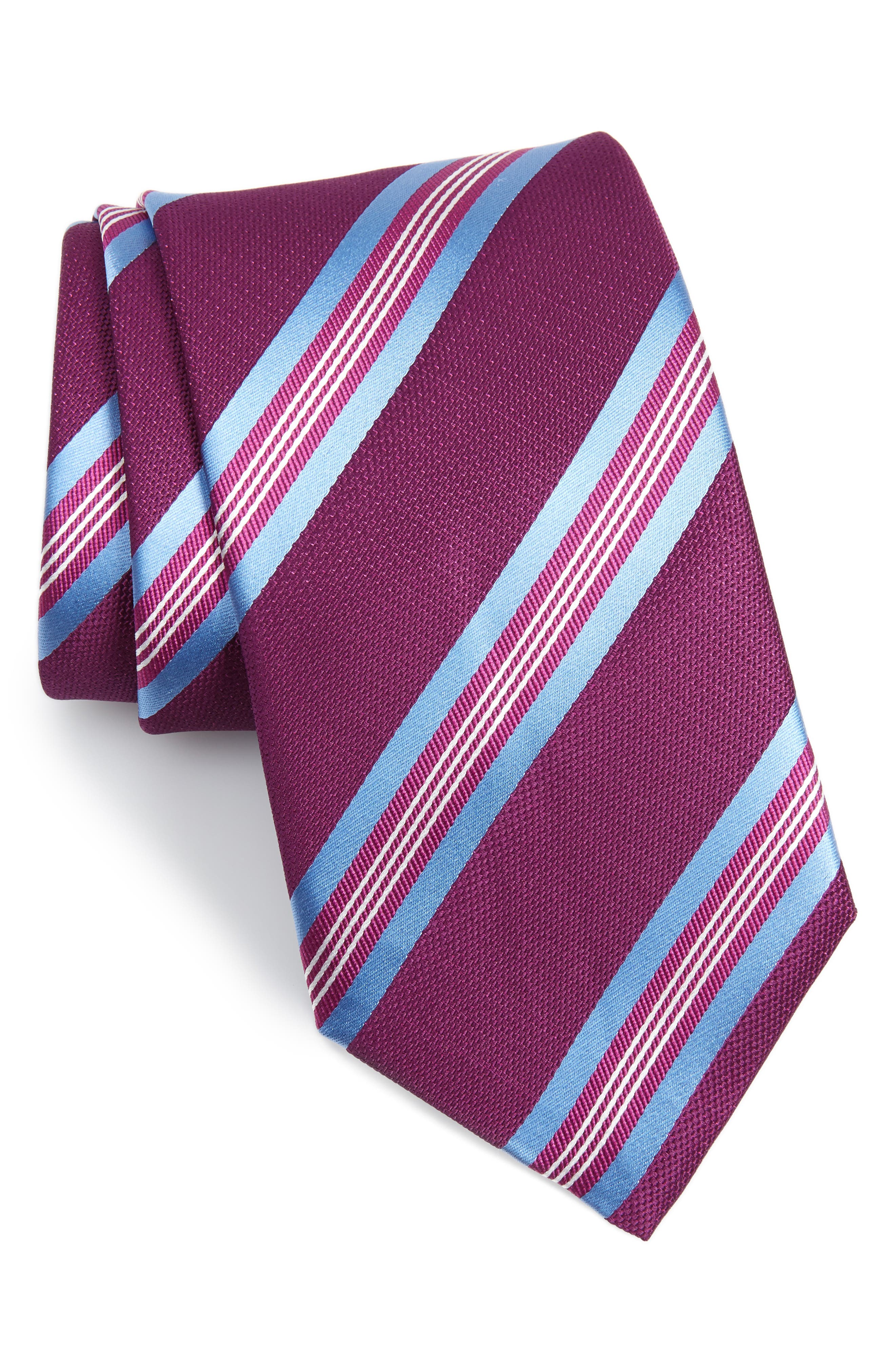 Striped Silk Tie,                         Main,                         color, Berry