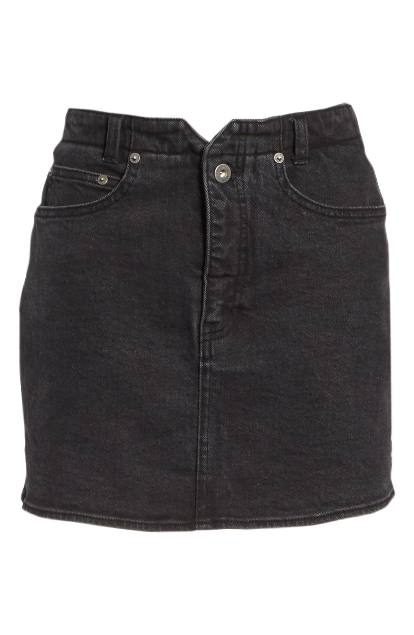 She's All That Denim Miniskirt,                             Alternate thumbnail 6, color,                             Black