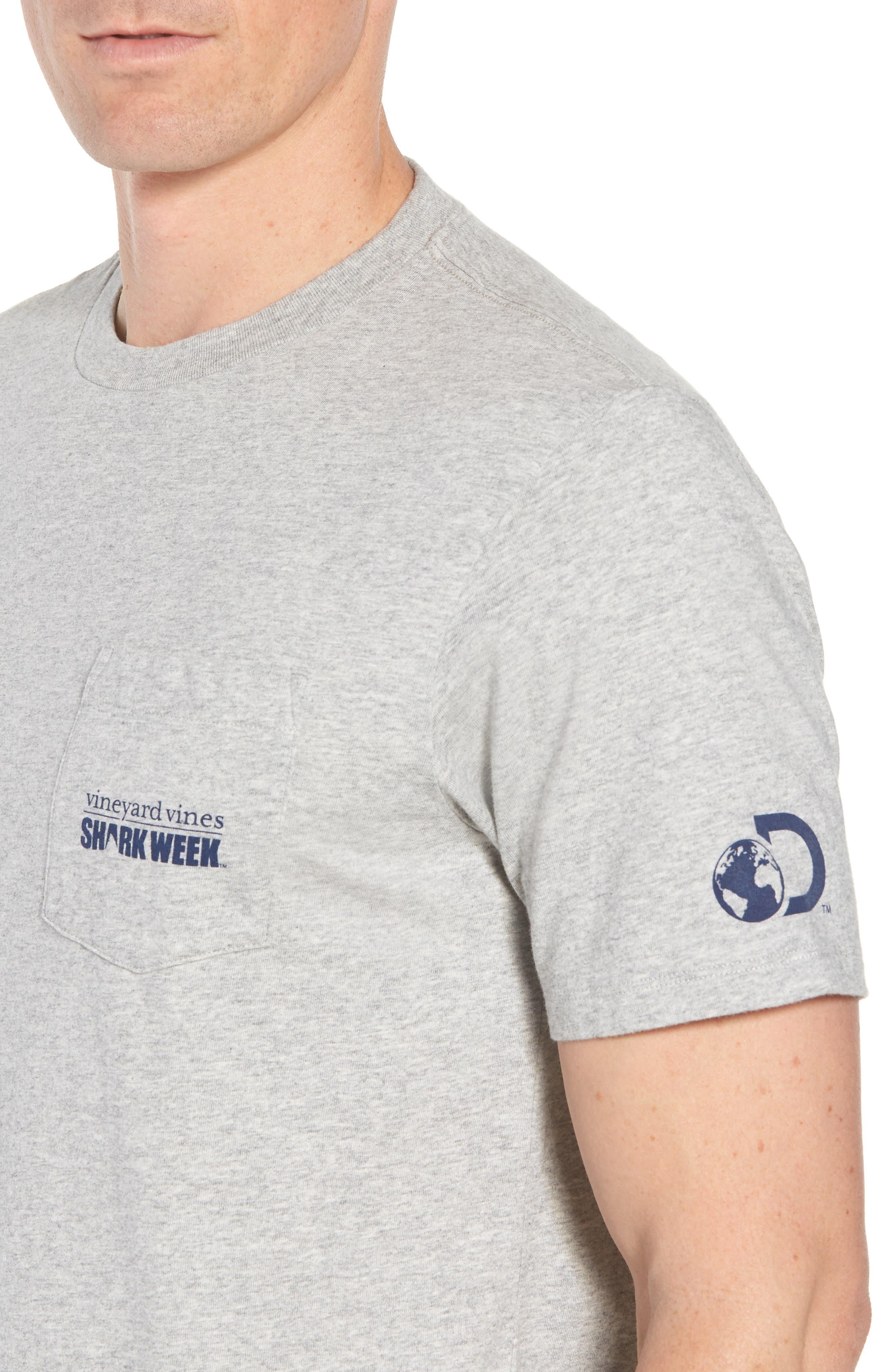 x Shark Week<sup>™</sup> Sharks & Stripes Pocket T-Shirt,                             Alternate thumbnail 3, color,                             Grey Heather