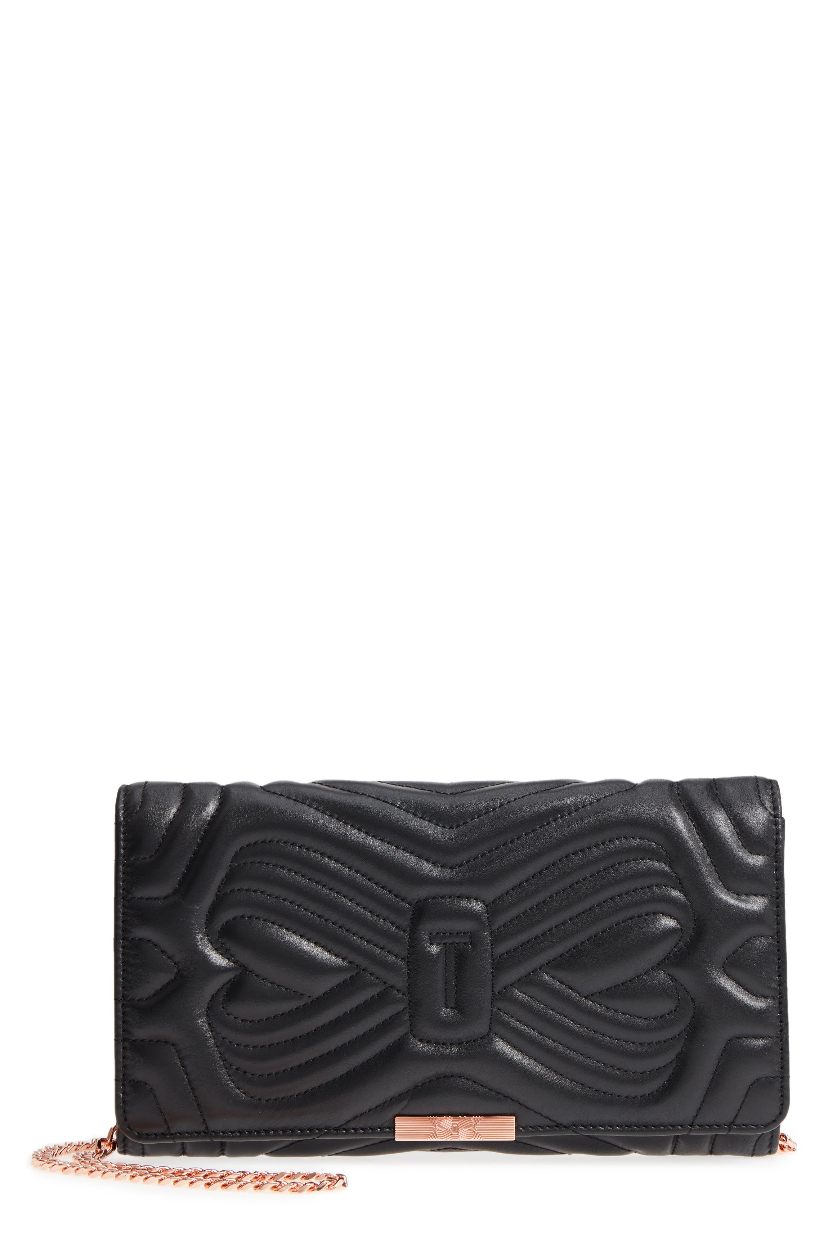 Ciliaa Quilted Bow Leather Clutch,                             Main thumbnail 1, color,                             Black