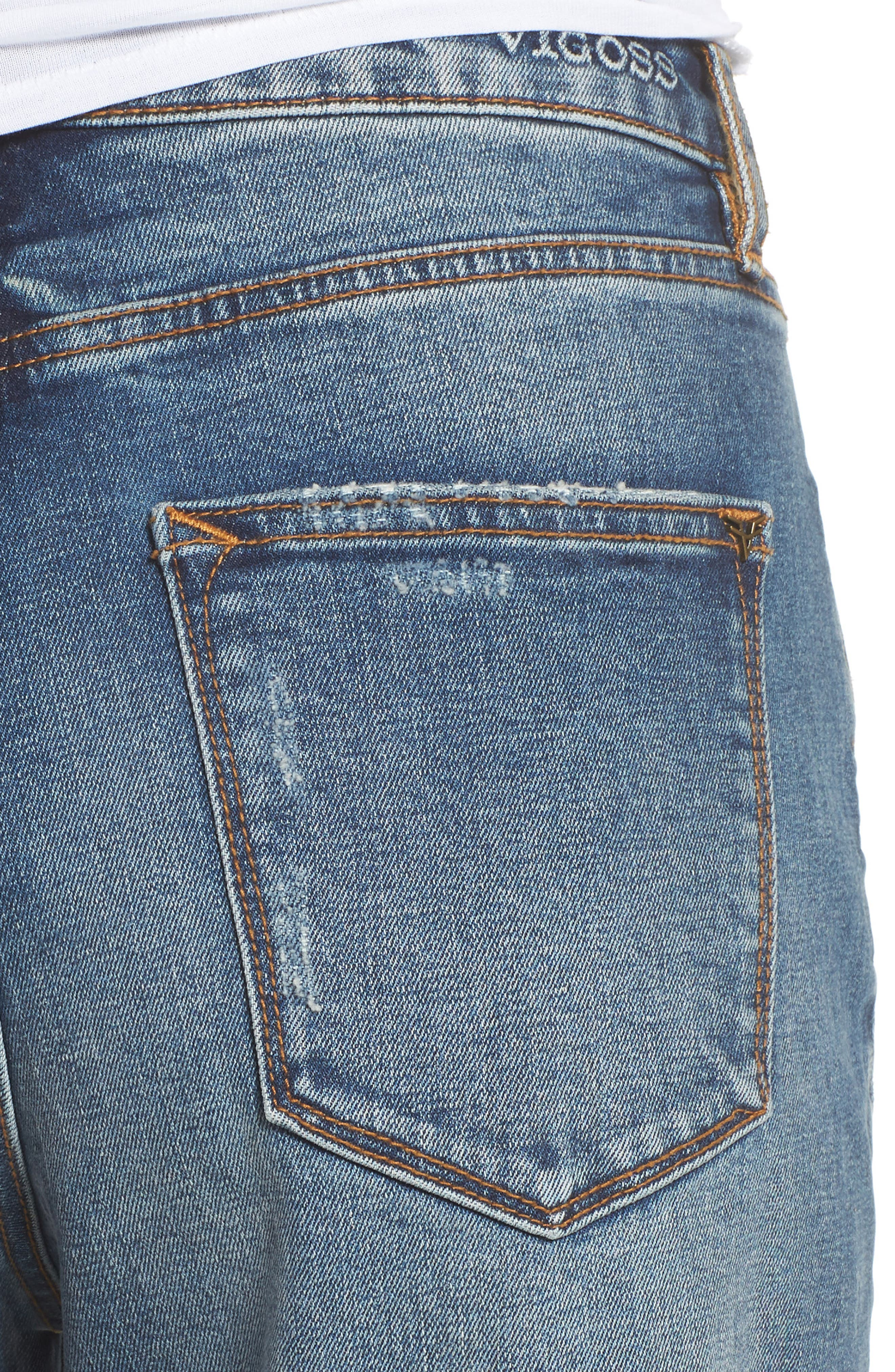 Friday Distressed Tapered Boyfriend Jeans,                             Alternate thumbnail 4, color,                             Medium Wash
