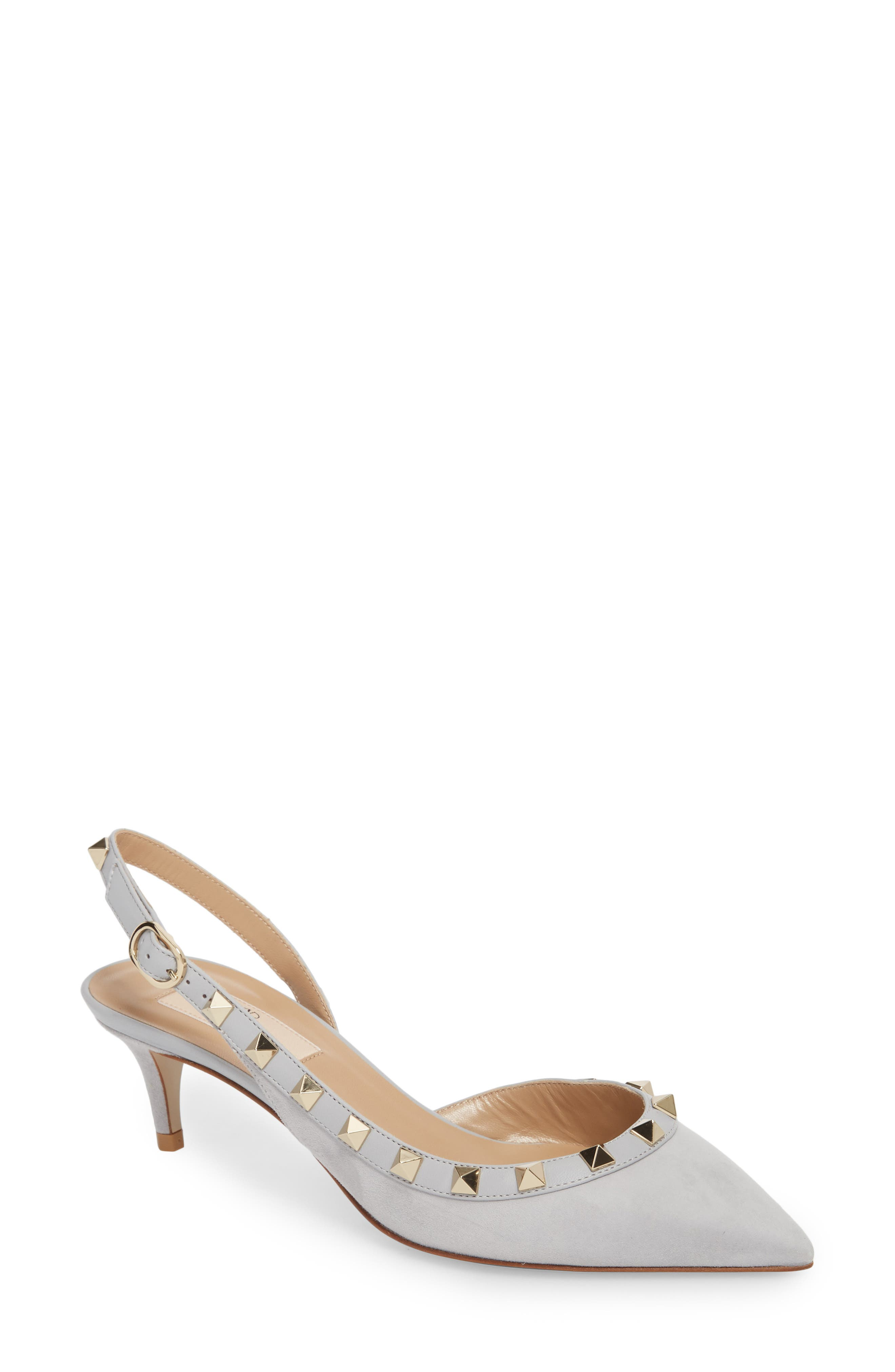 Rockstud Slingback Pump,                             Main thumbnail 1, color,                             Pastel Grey Suede