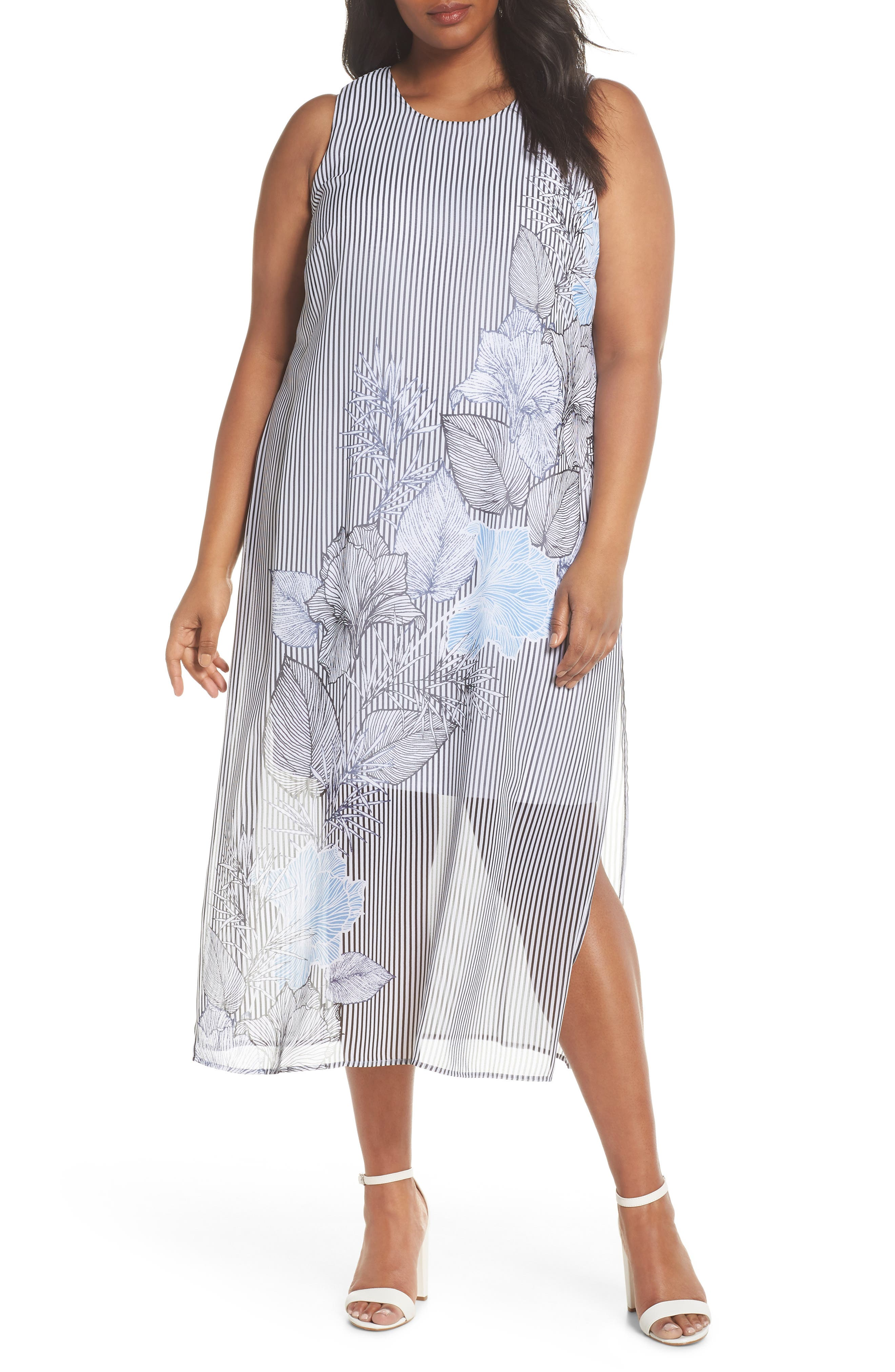 Island Floral Chiffon Maxi Dress,                             Main thumbnail 1, color,                             Rich Black