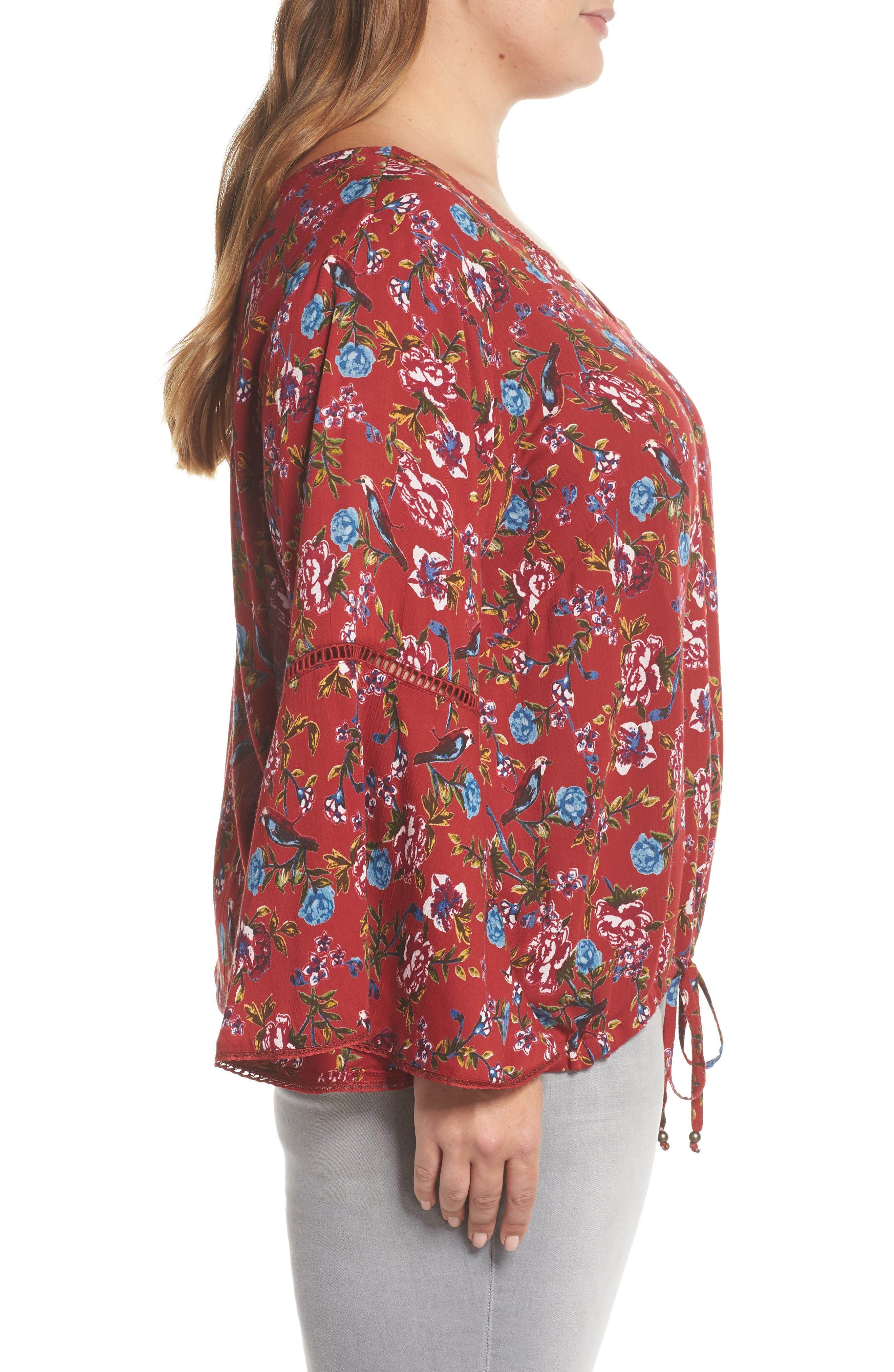 Print Drawstring Hem Top,                             Alternate thumbnail 3, color,                             Red Floral