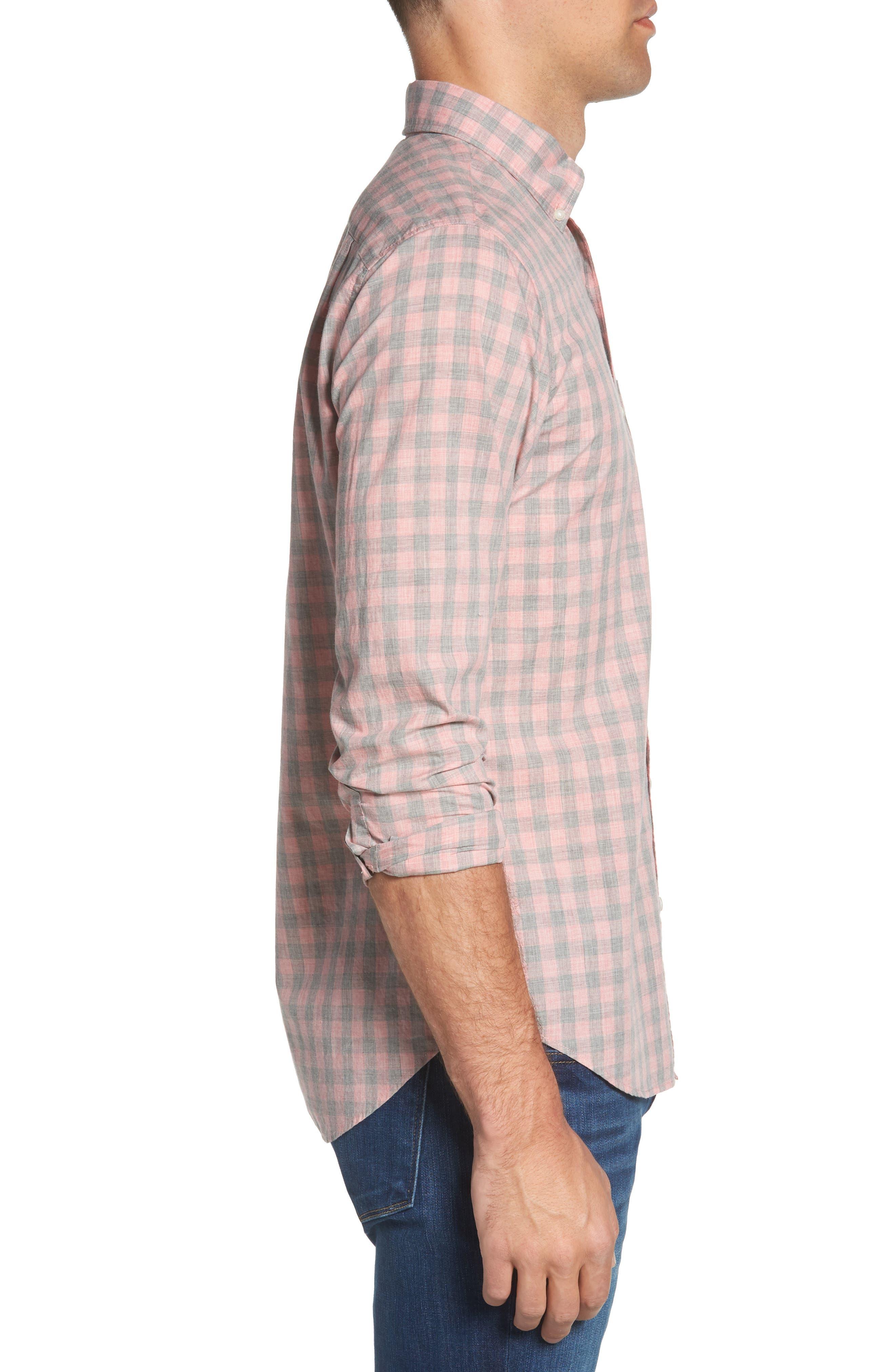 Summerweight Slim Fit Gingham Sport Shirt,                             Alternate thumbnail 5, color,                             Pine Gingham - Heather Rose