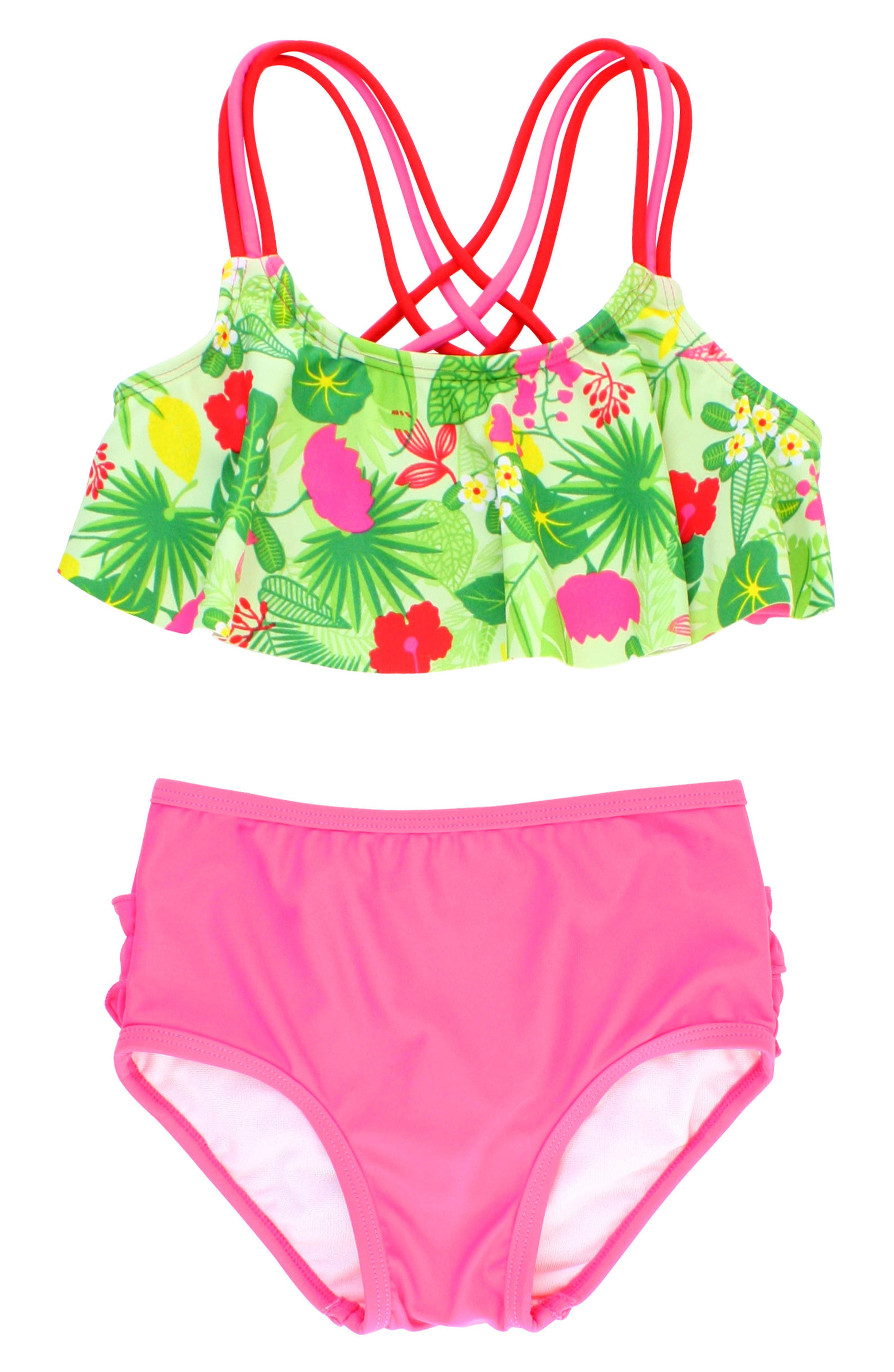 Puerto Vallarta Flounce Two-Piece Swimsuit,                             Main thumbnail 1, color,                             Candy