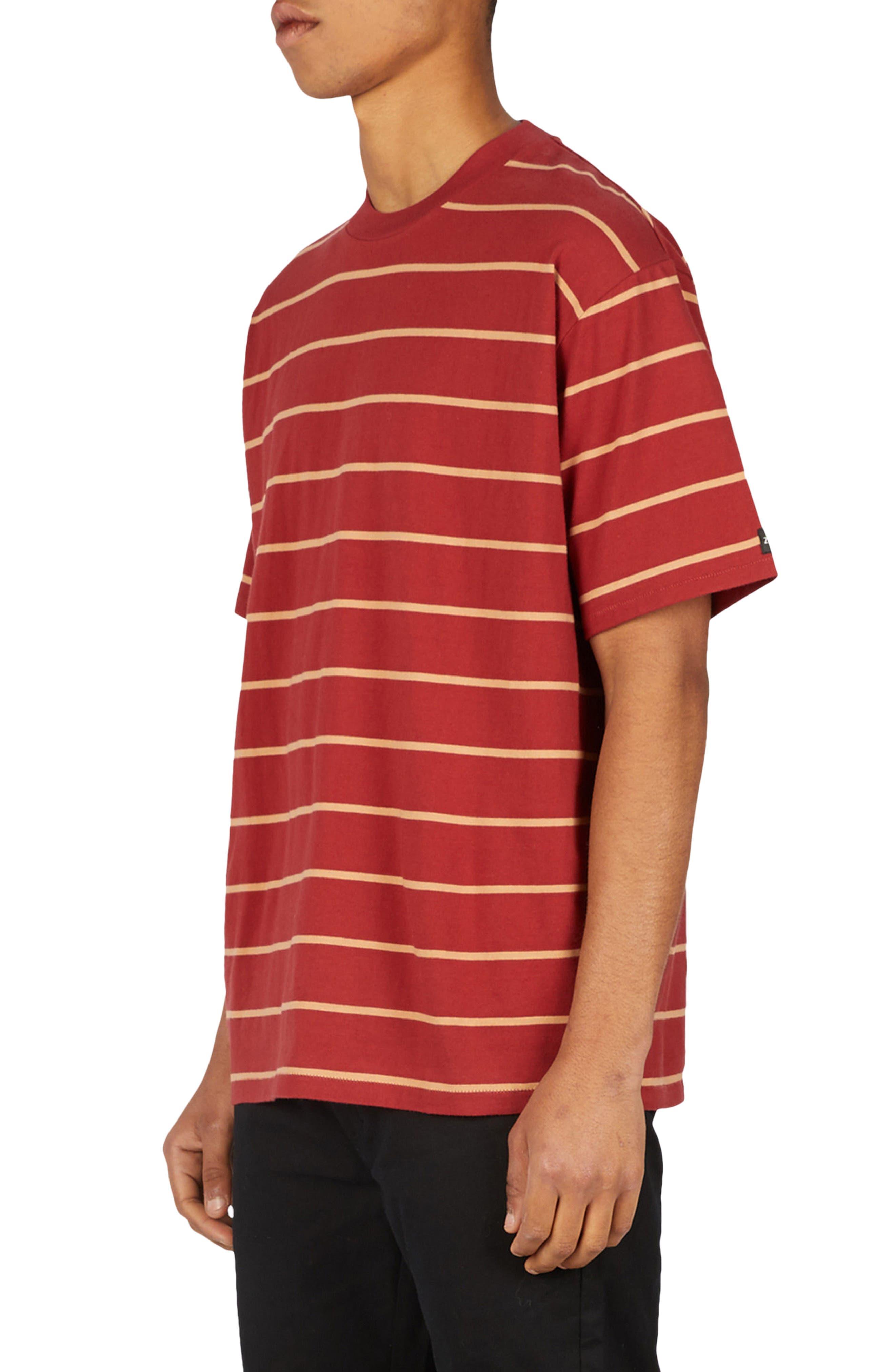 Stripe Box T-Shirt,                             Alternate thumbnail 3, color,                             Dark Cherry/ Biscuit