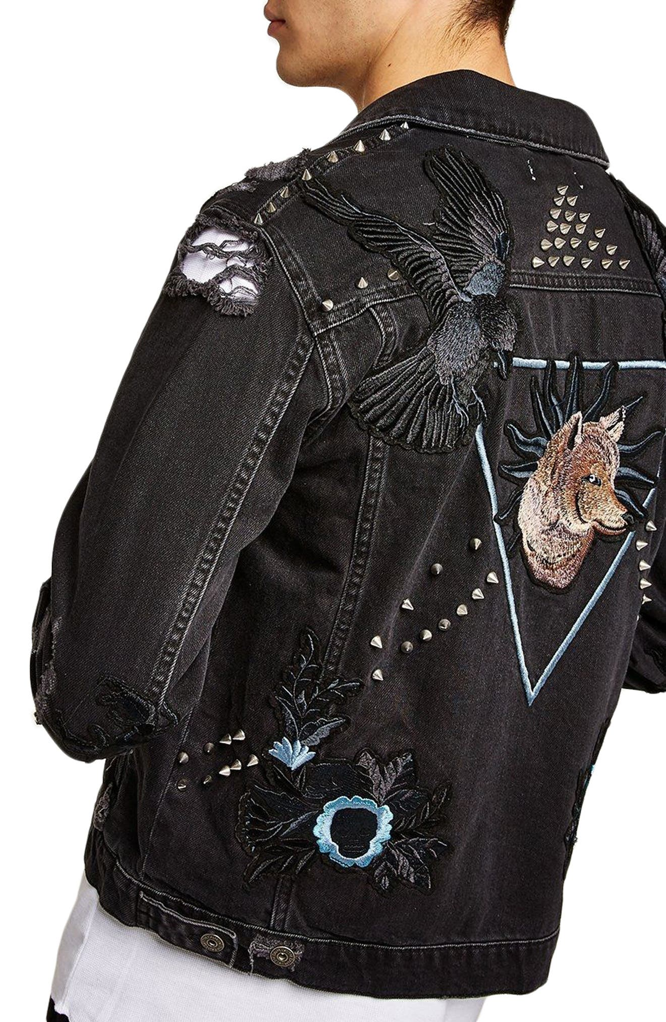 Sleepy Hollow Slim Fit Denim Jacket with Patches,                             Alternate thumbnail 2, color,                             Black Multi