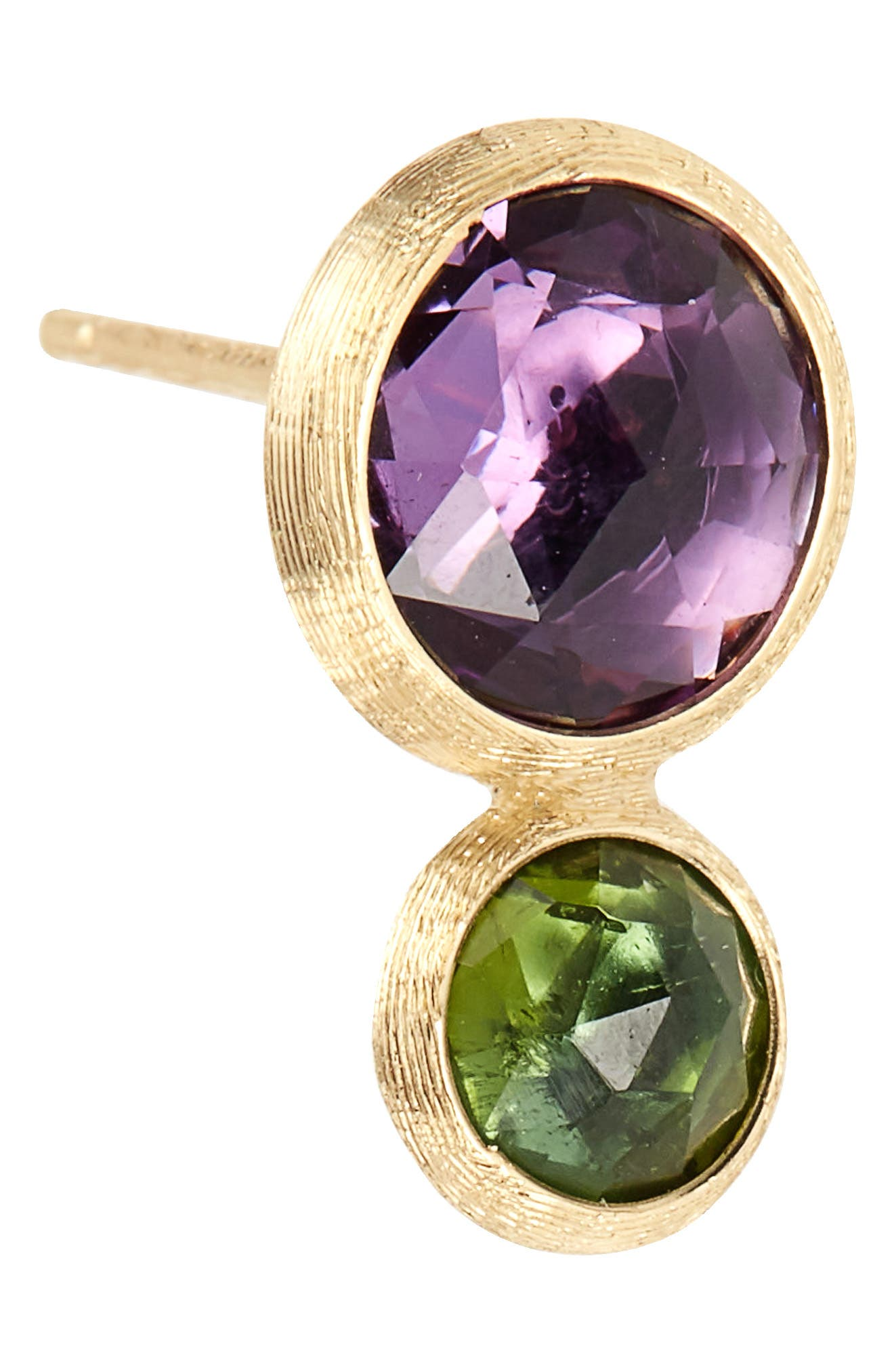 Jaipur Amethyst & Tourmaline Stud Earrings,                             Alternate thumbnail 5, color,                             Yello Gold/ Amethyst