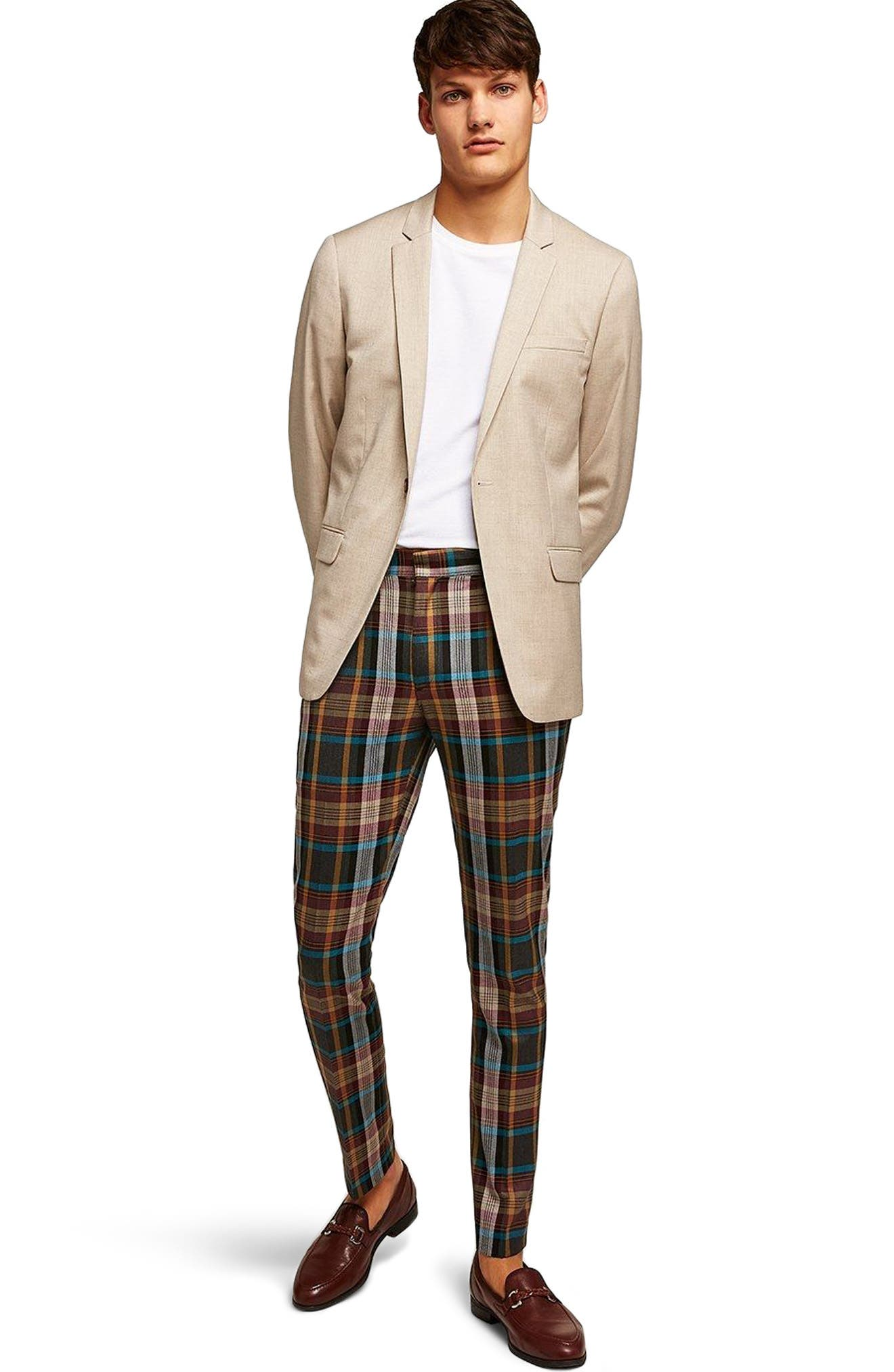 Skinny Fit Check Suit Jacket,                             Alternate thumbnail 3, color,                             Stone