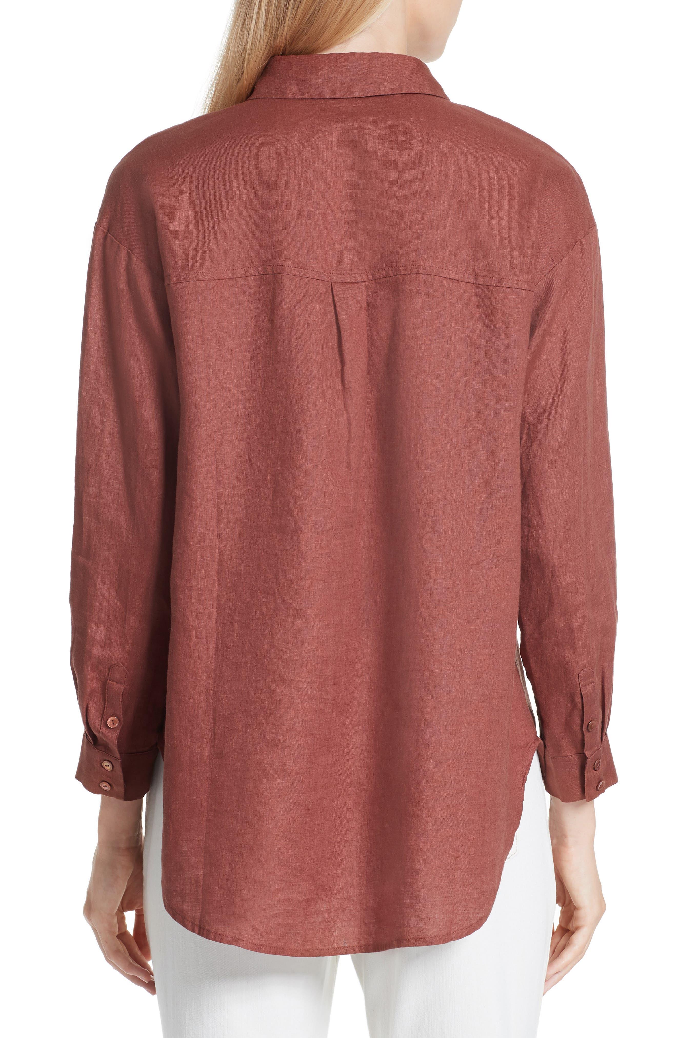 Classic Collar Linen Shirt,                             Alternate thumbnail 2, color,                             Russet