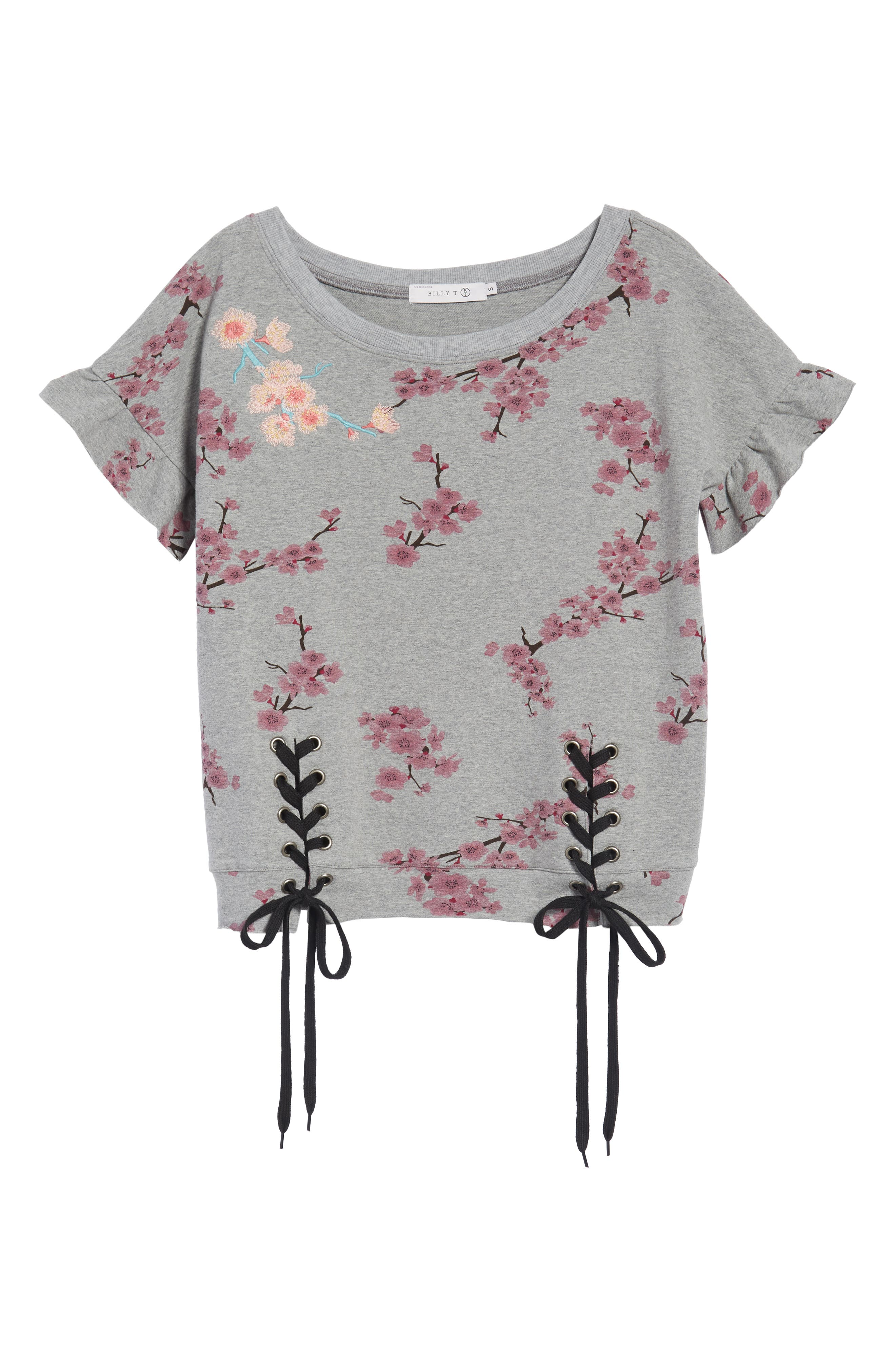 Short Sleeve Lace Up Cherry Blossom Sweatshirt,                             Alternate thumbnail 7, color,                             Grey Cherry Blossom