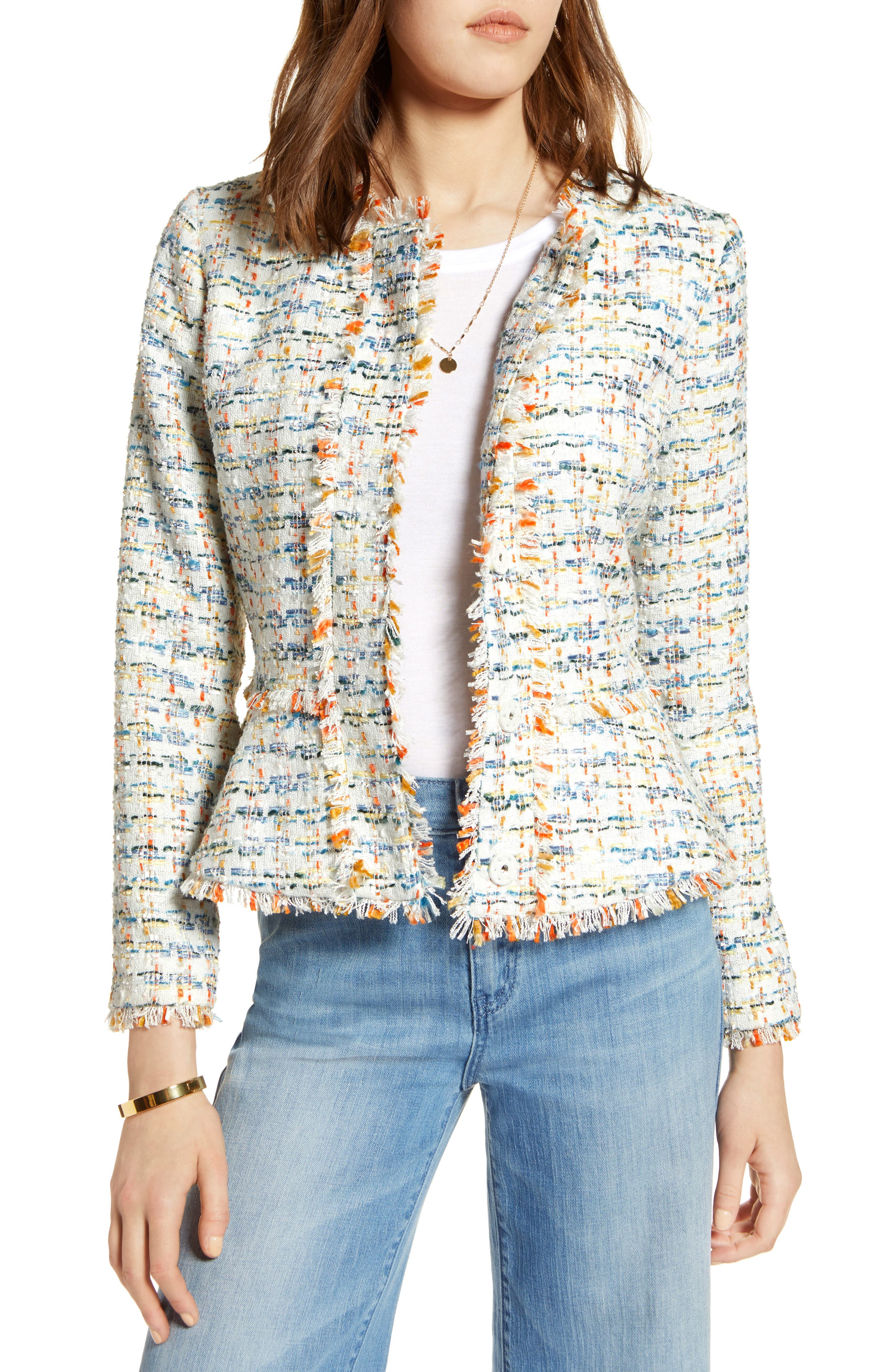 Tweed Peplum Jacket,                         Main,                         color, Ivory Multi Tweed